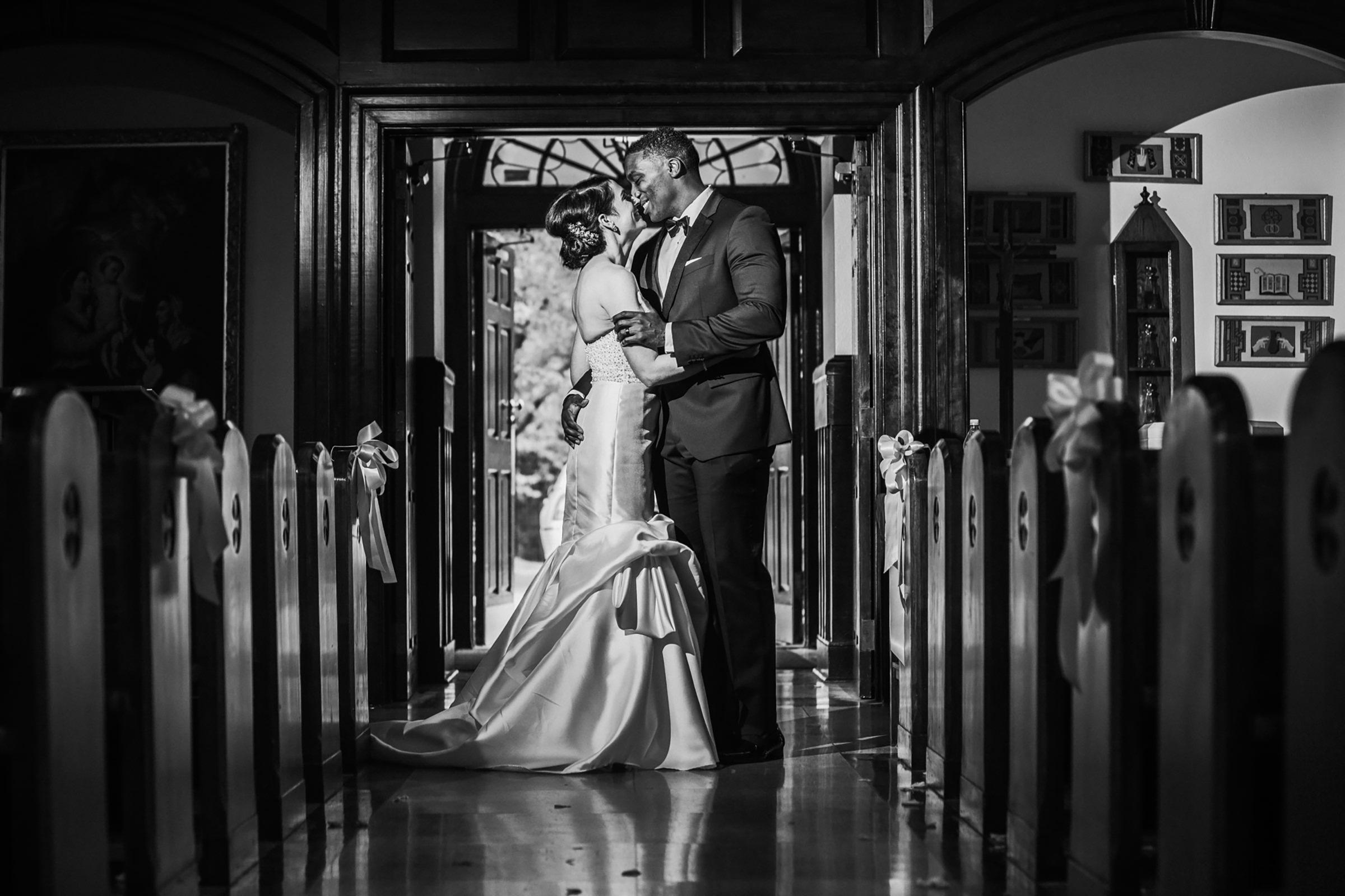 Couple portrait inside church - photo by Kelli Wilke Photography