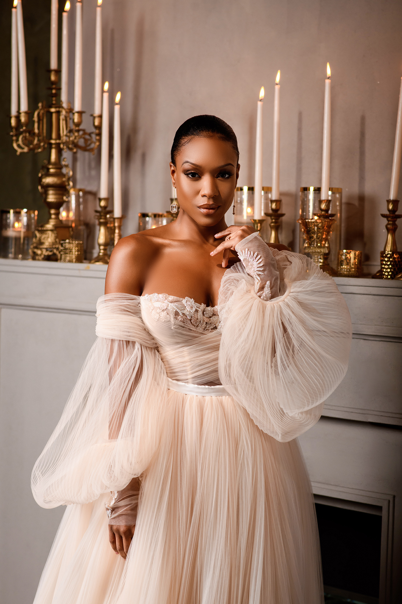 Stunning portrait of bride in blush pink strapless couture gown and bell sleeves- photo by Joshua Dwain Photography