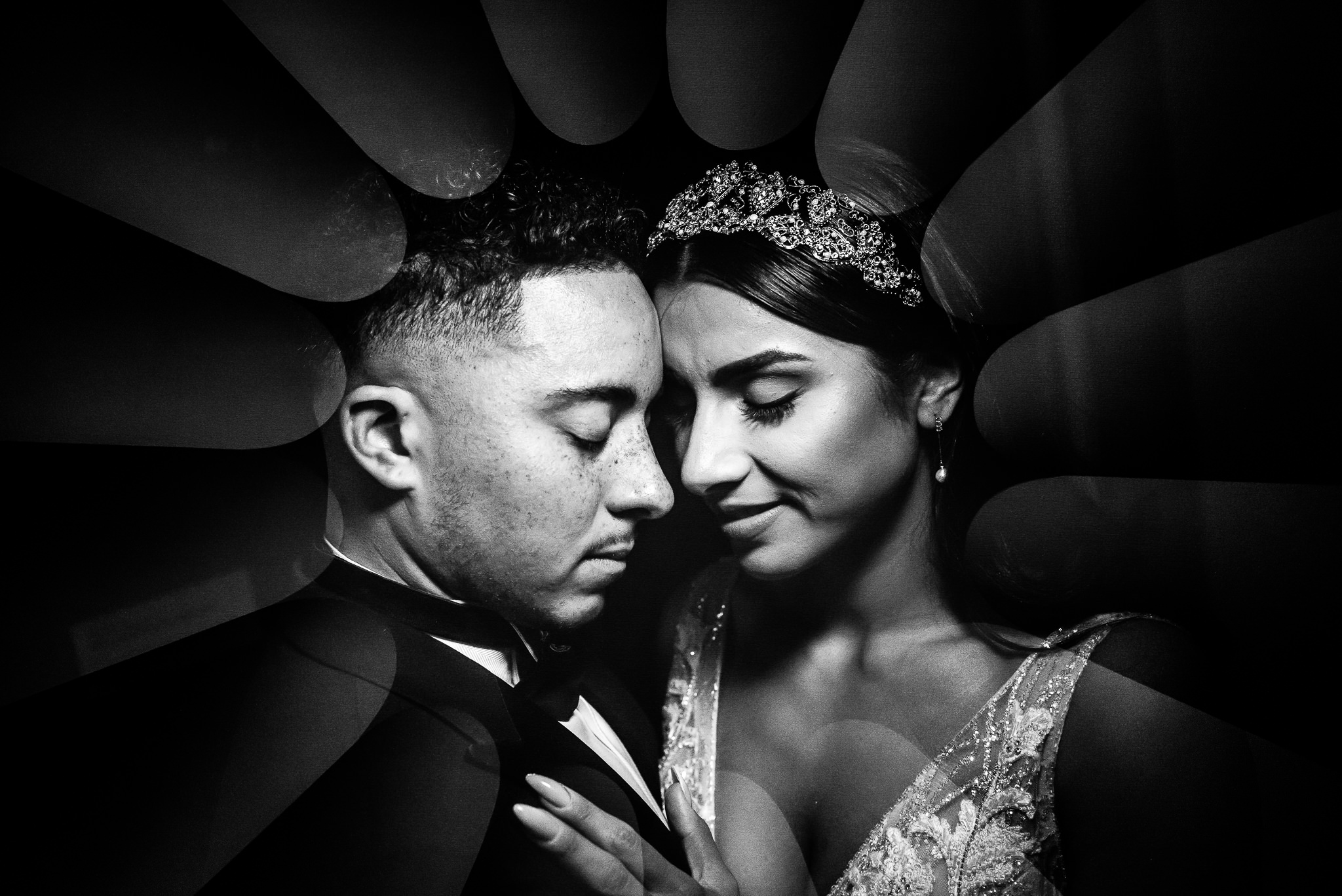 Black and white portrait of bride and groom - photo by Adibe Photography