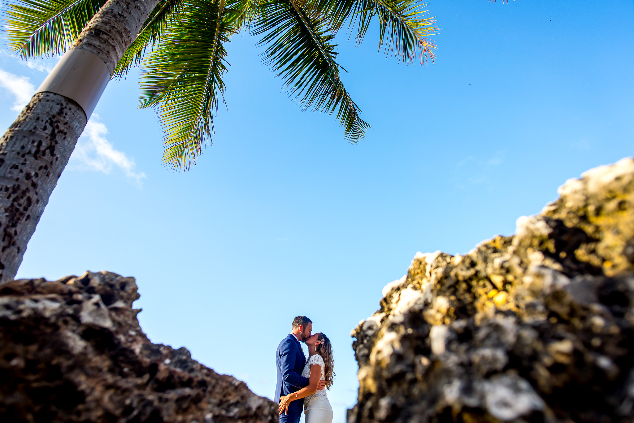 Bride and groom kiss under palm tree - photo by Adibe Photography