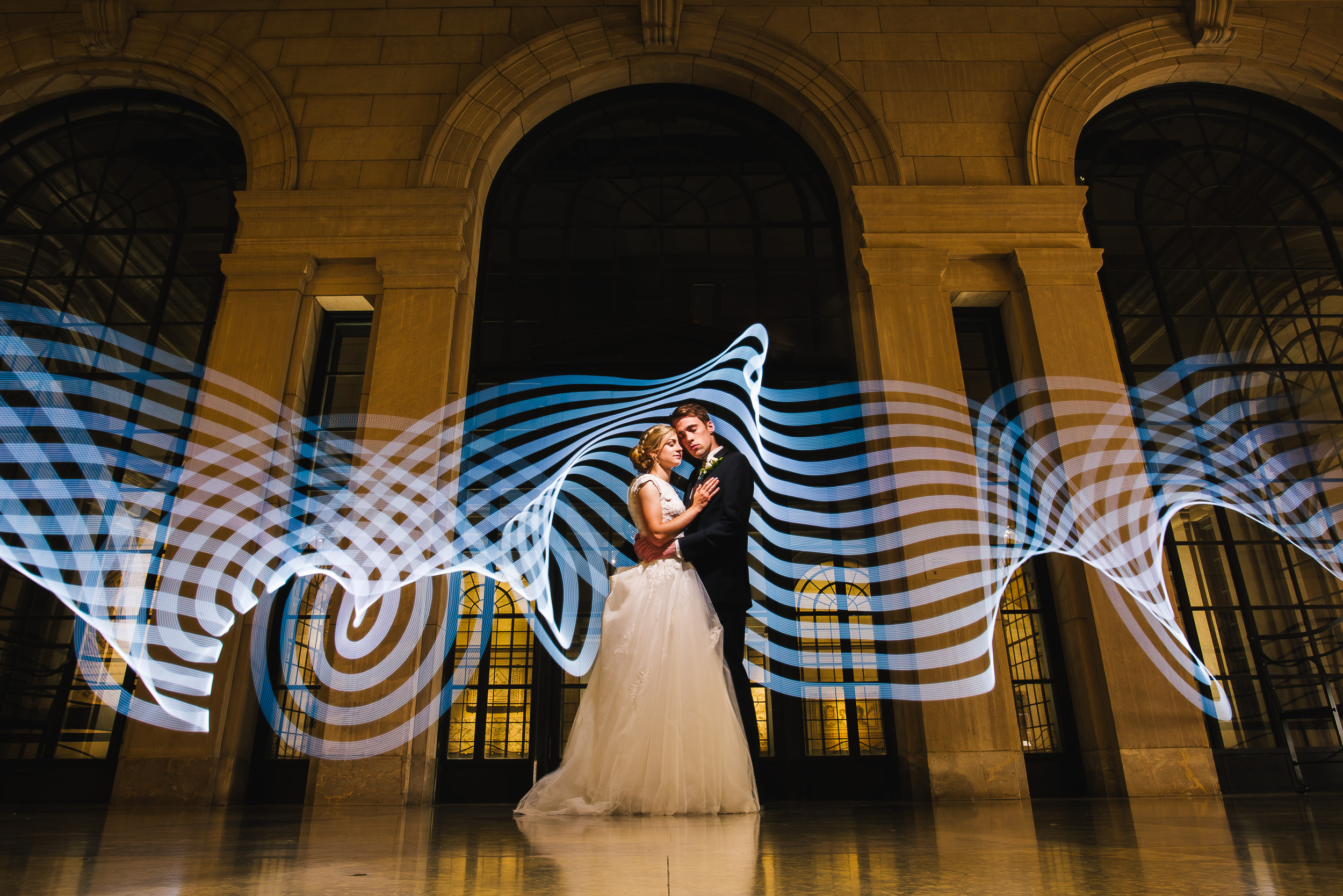 Bride and groom portrait with light painting - photo by Adibe Photography