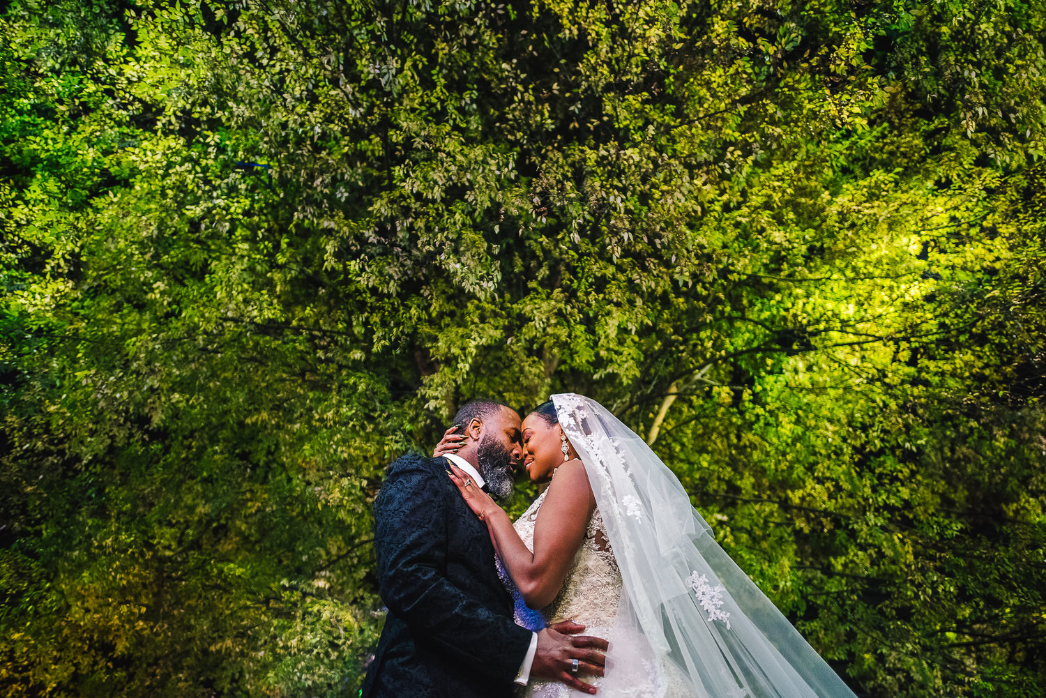 Bride and groom pose against canopy of trees - photo by Adibe Photography