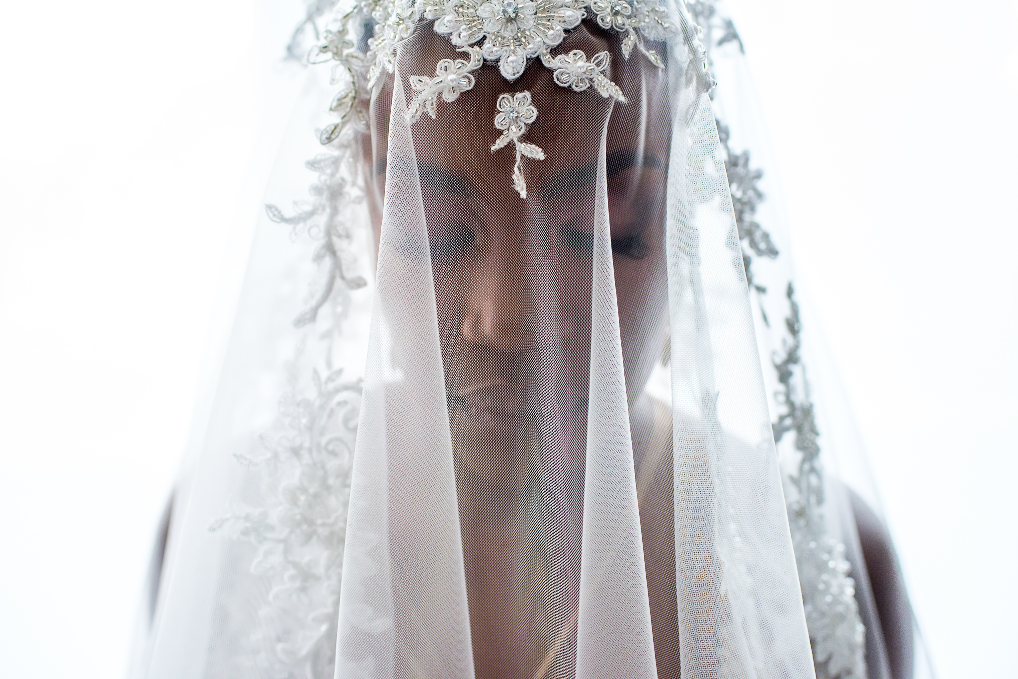 Bride in appliqued veil - photo by Adibe Photography