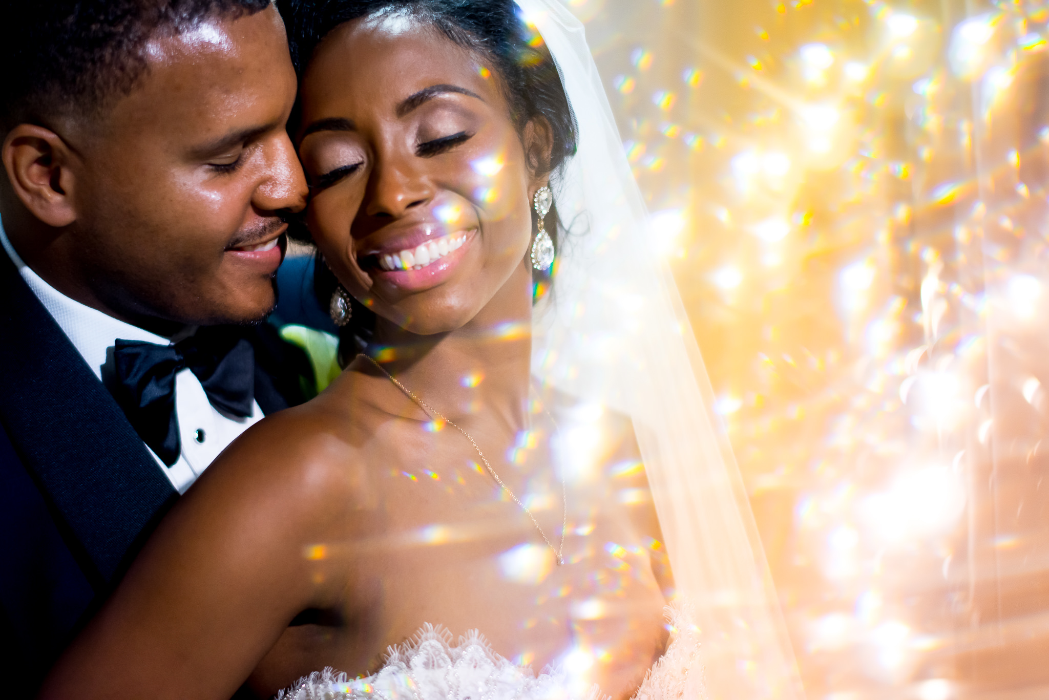 Portrait of bride and groom with prisming effect - photo by Adibe Photography