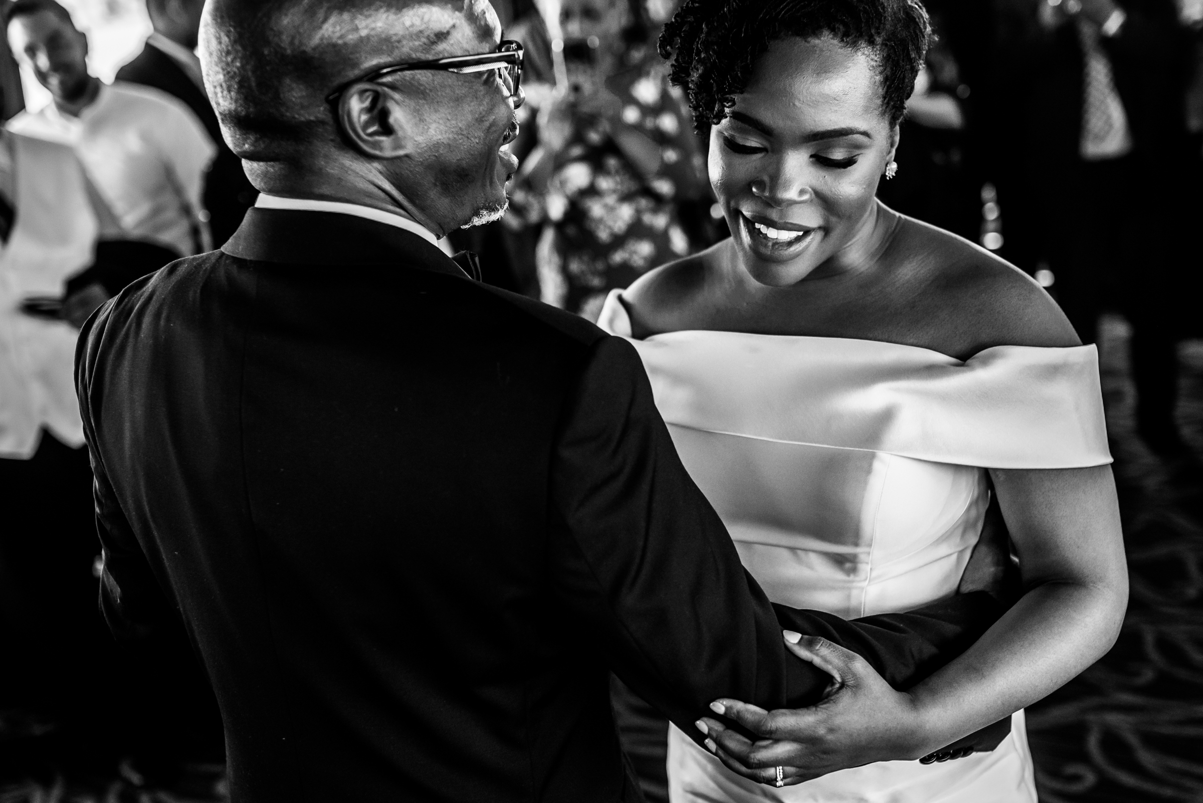 Black and white photo of father-daughter dance - photo by Ashleigh Bing Photography