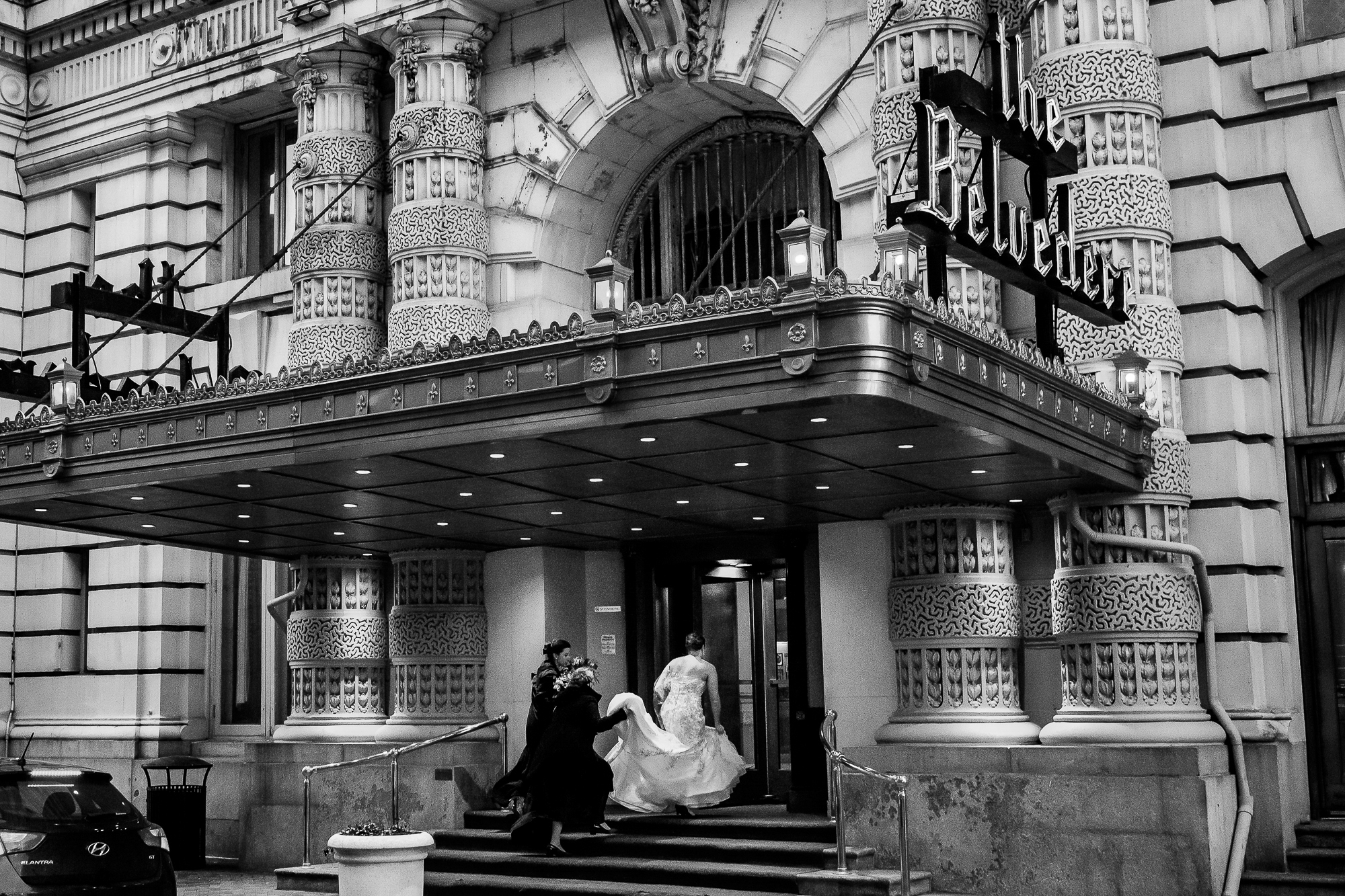 Bride enters the Belevedere in Baltimore - photo by Christopher Jason Studios