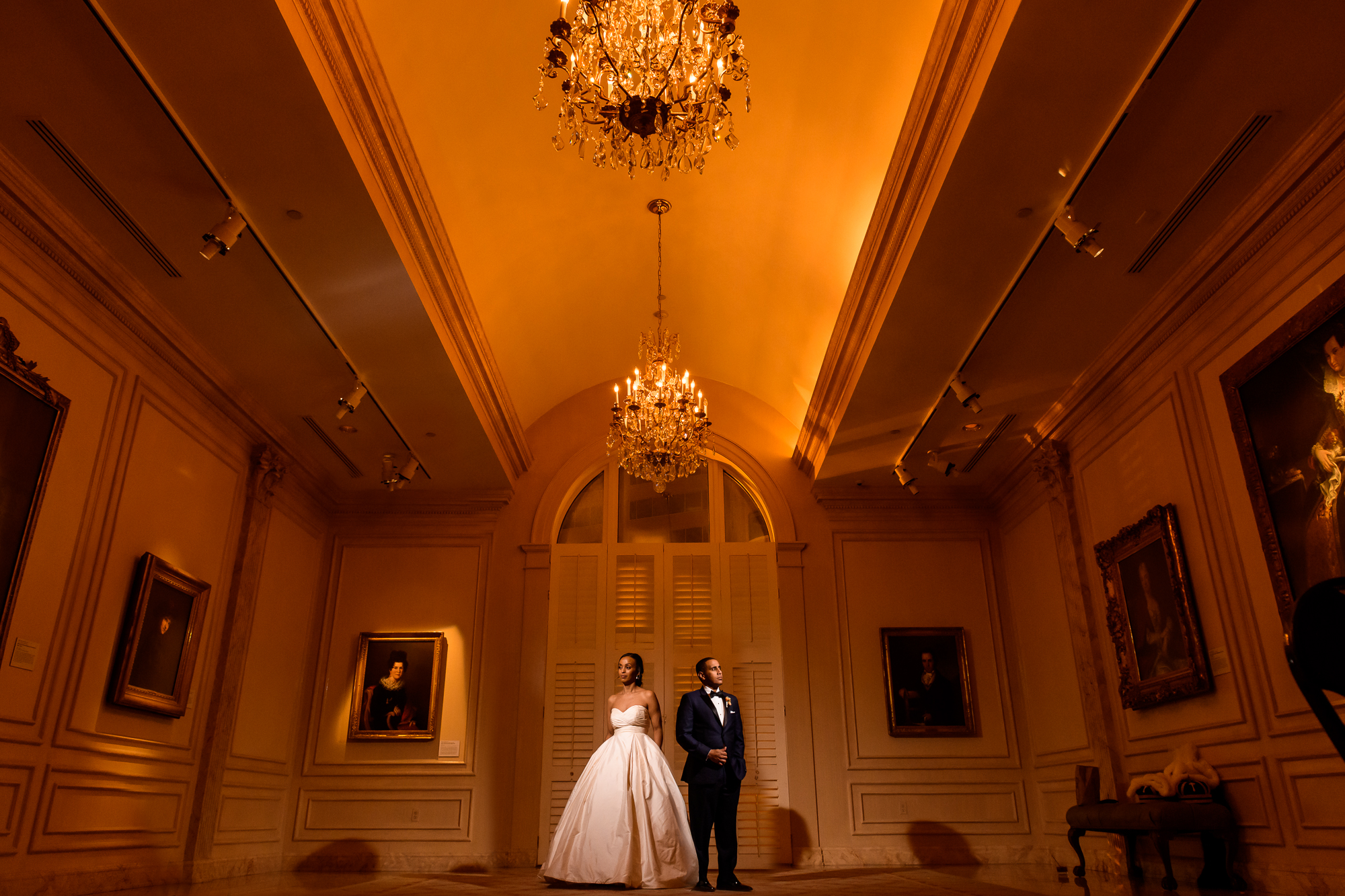 Portrait of couple in classic DC ballroom - photo by Christopher Jason Studios