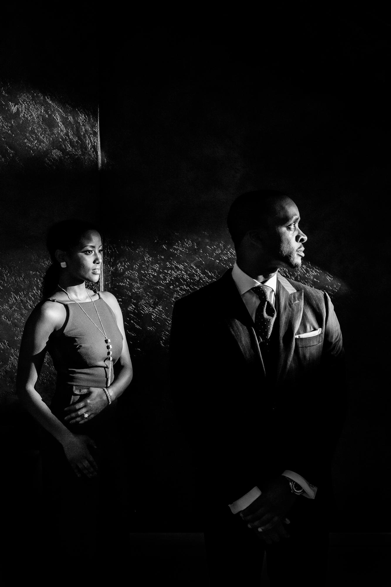 Profile portrait of couple in windowlight - photo by Christopher Jason Studios