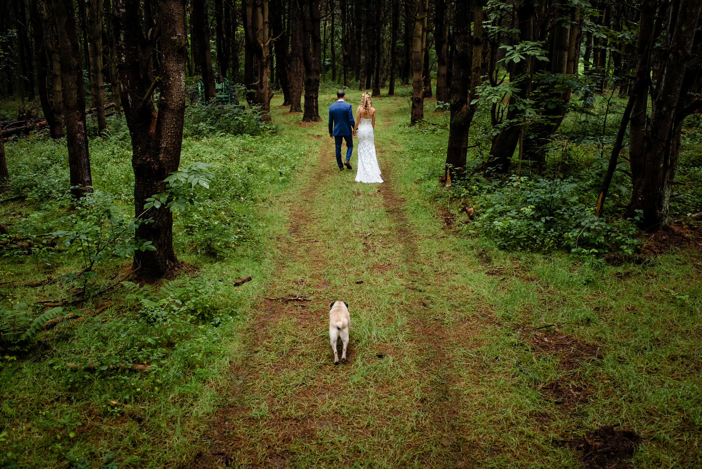 bride and groom portrait in the forest with their puppy- photo by Hannah Photography