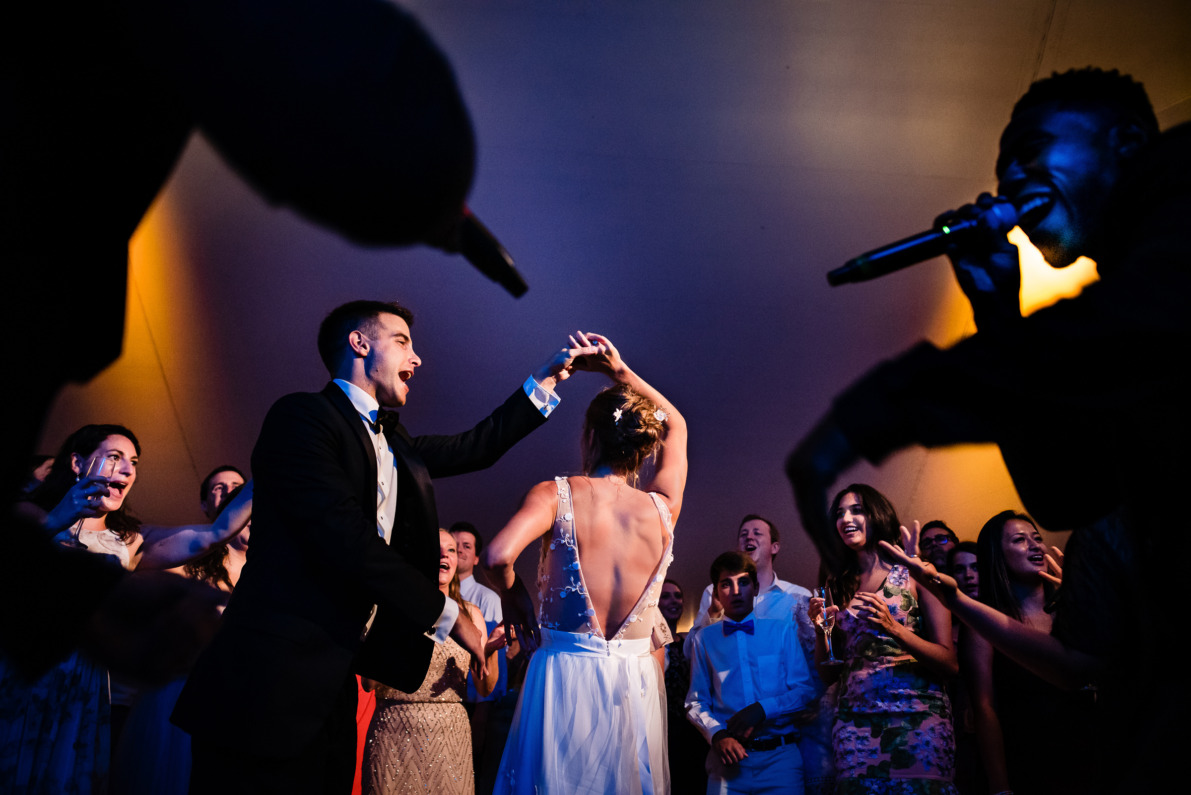 bride and grooms first dance with the band close by- photo by Hannah Photography