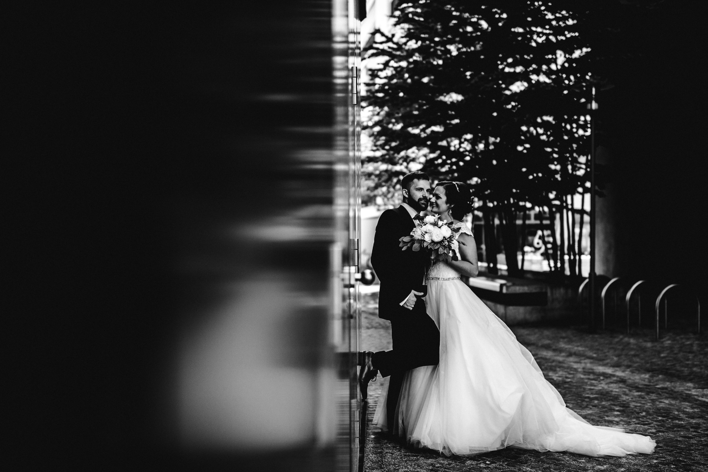 bride and groom black and white outdoor portrait- photo by FineArt Weddings | Photography
