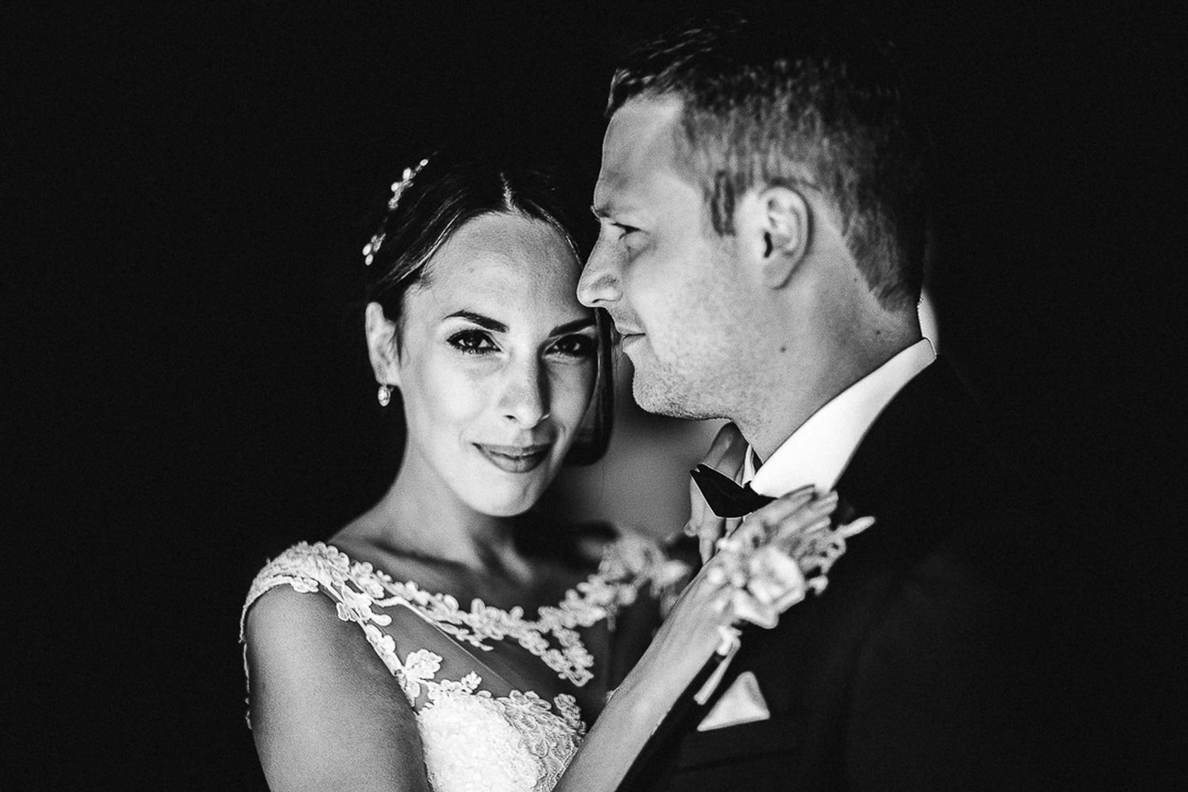 bride and groom romantic black and white portrait- photo by FineArt Weddings | Photography