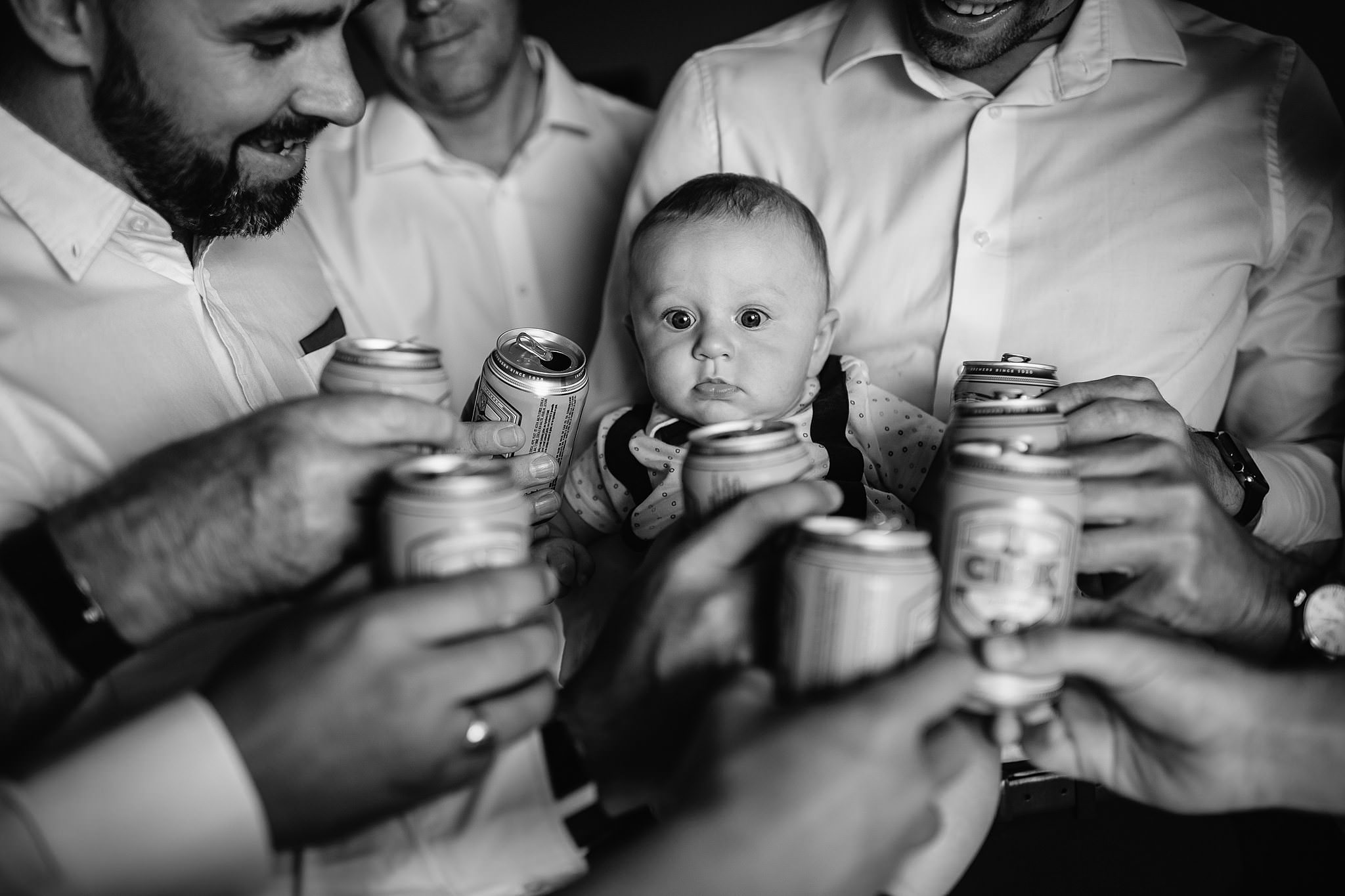 baby cuteness hanging with the groomsmen- photo by Shane P Watts Photography