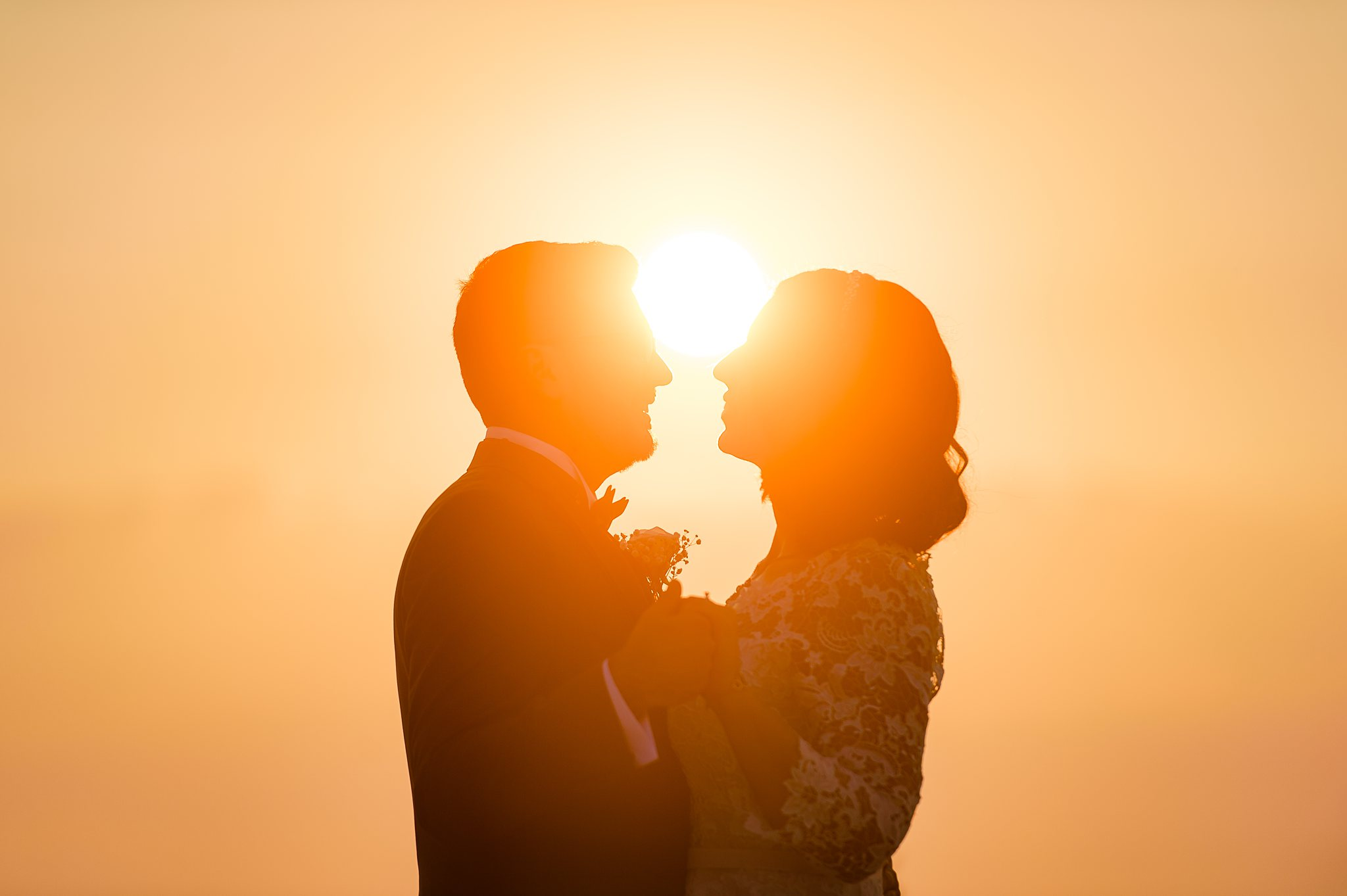 bride and groom sunset moment- photo by Shane P Watts Photography