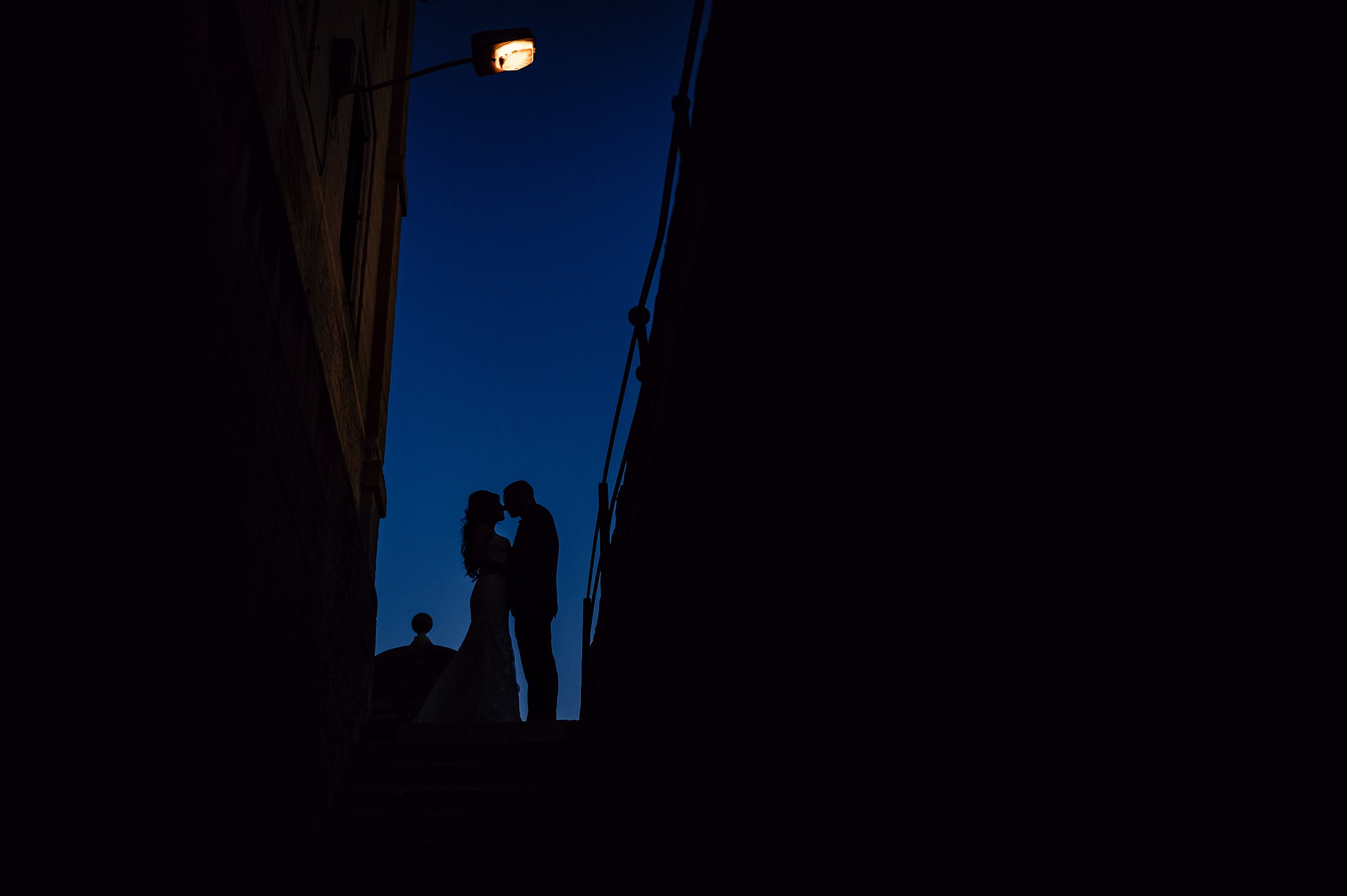 bride and groom twilight silhouette portrait- photo by Shane P Watts Photography