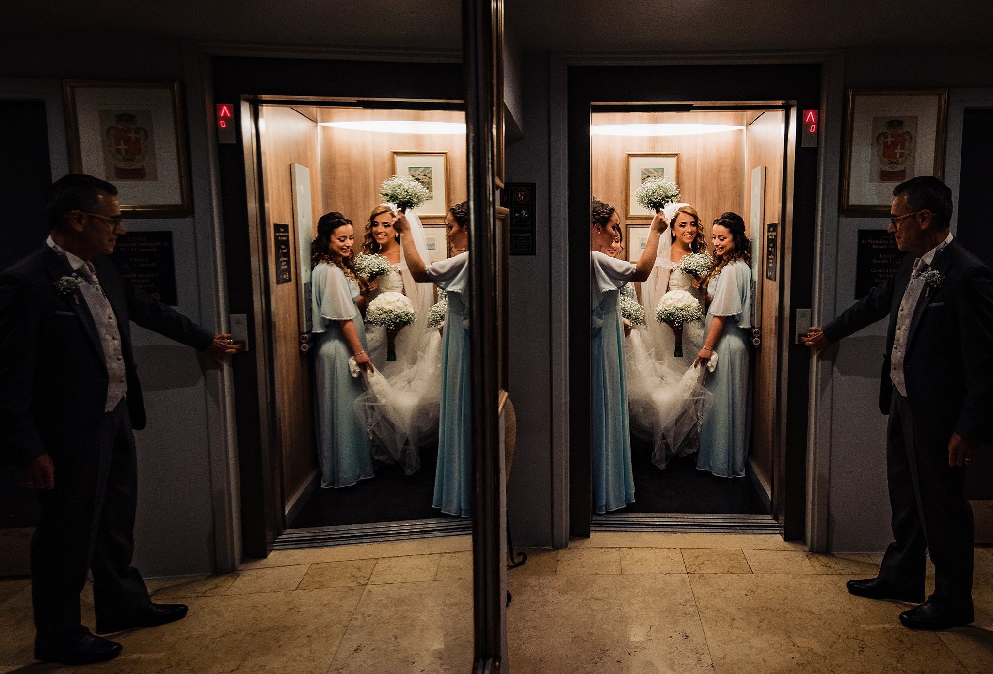Double exposure of bride and bridesmaid in elevator - photo by Shane P. Watts Photography