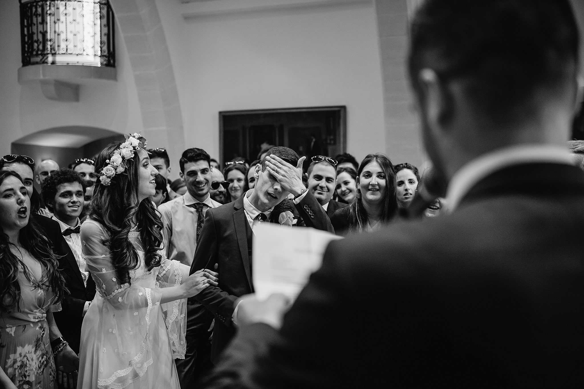 groom sweating with excited nerves during ceremony- photo by Shane P Watts Photography