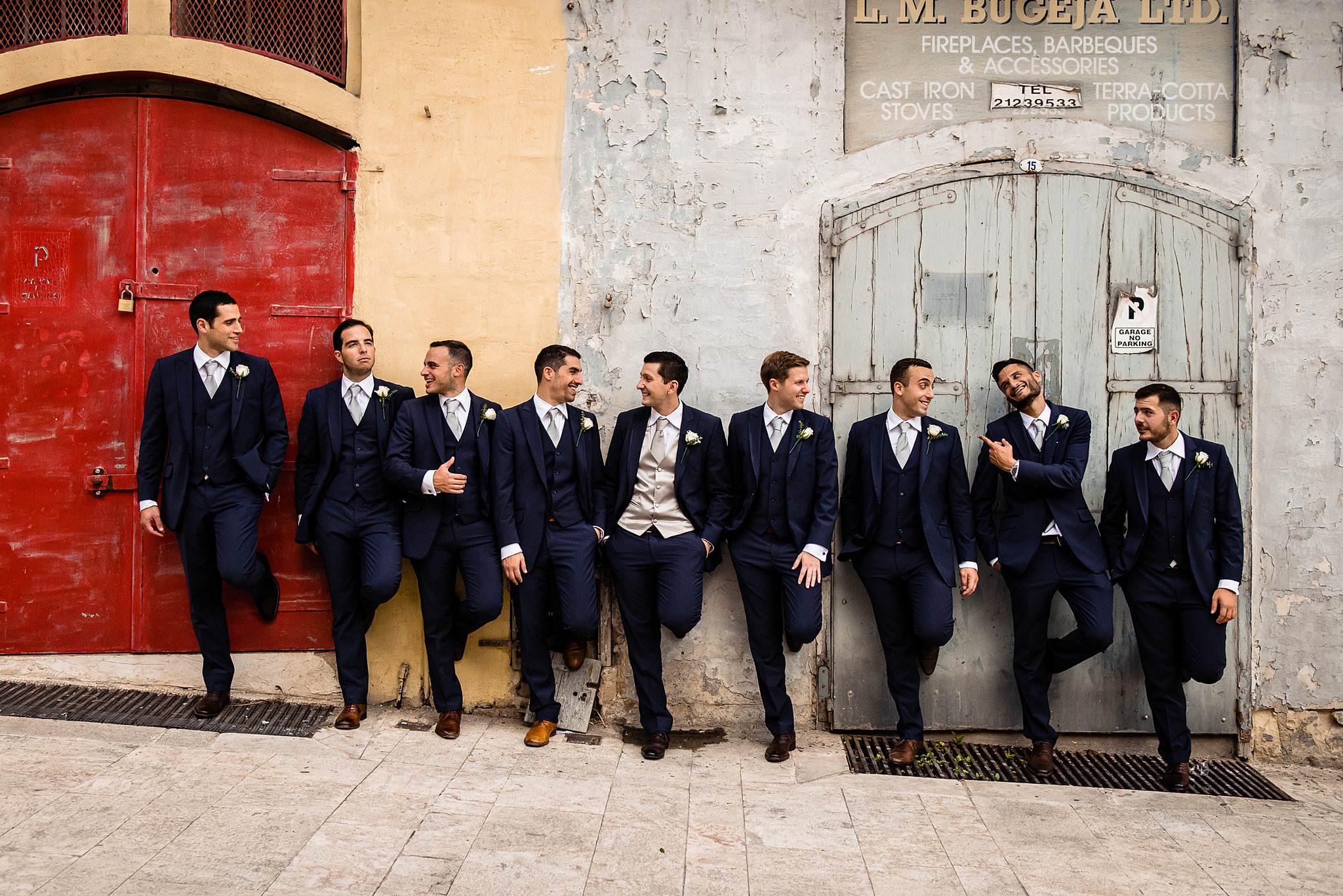 groom with groomsmen fun portrait- photo by Shane P Watts Photography