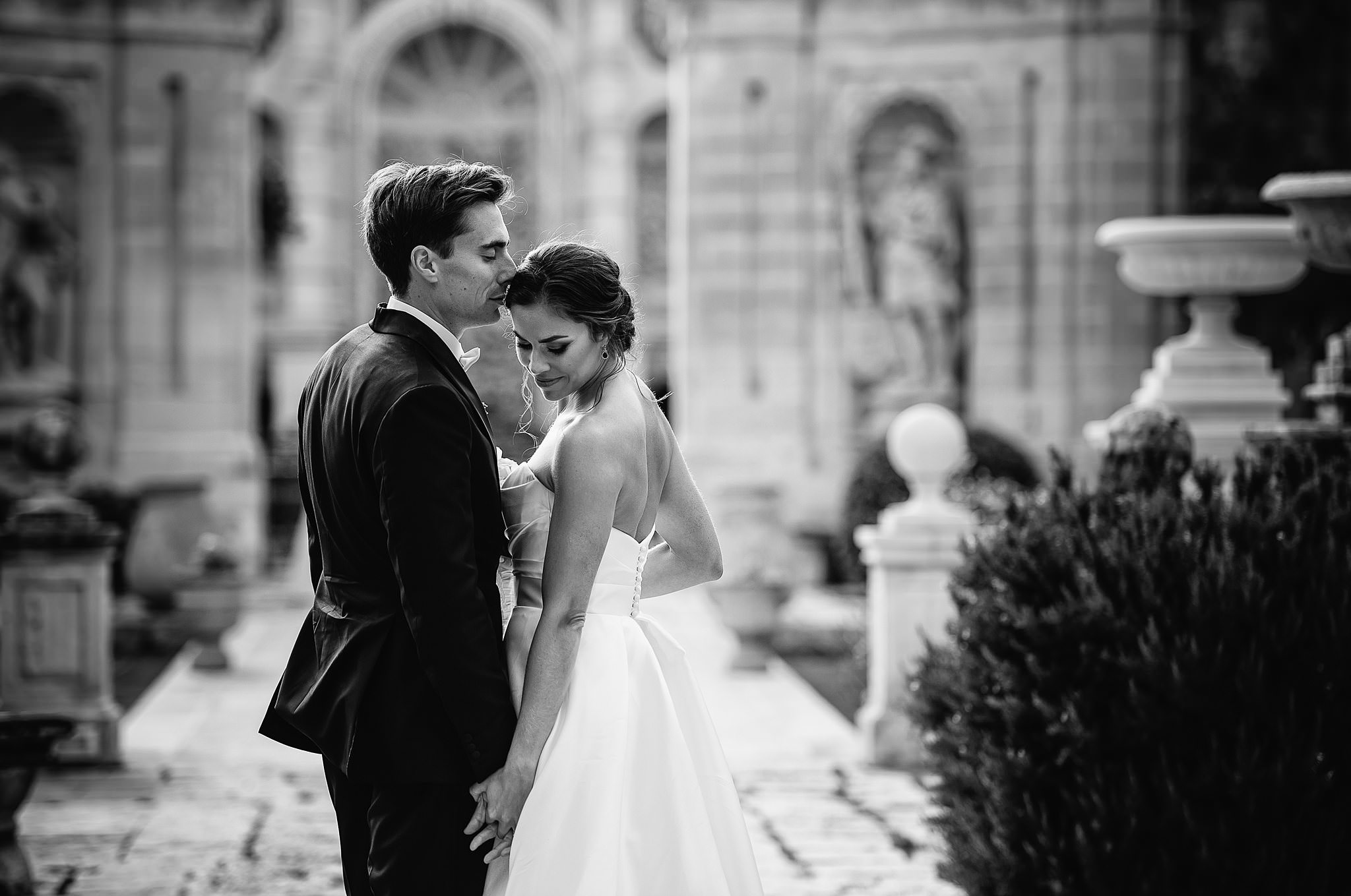 sweet black and white portrait of bride and groom- photo by Shane P Watts Photography