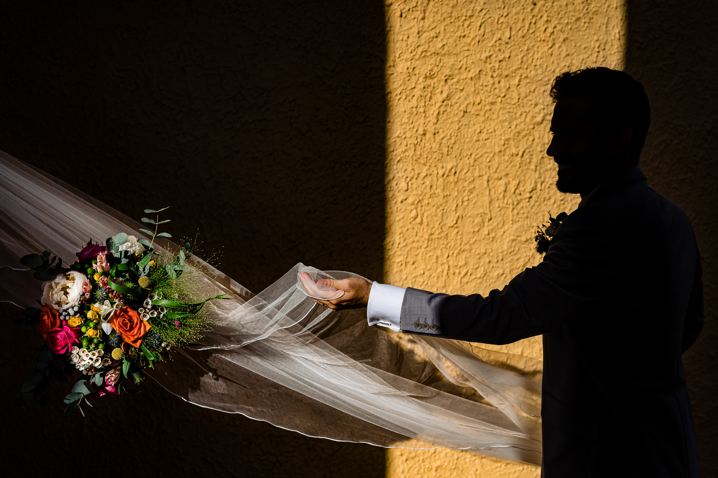 grooms hand reaching for his bride through her veil- photo by Shane P Watts Photography
