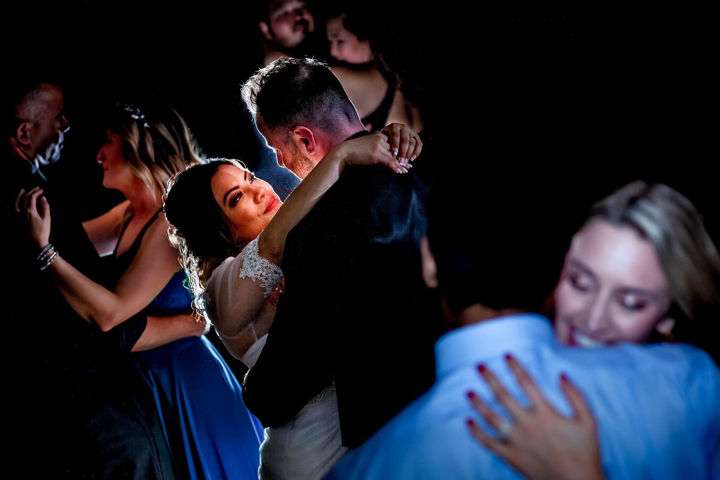 Timberline Lodge wedding spotlight on couple dancing - photo by JOS & TREE