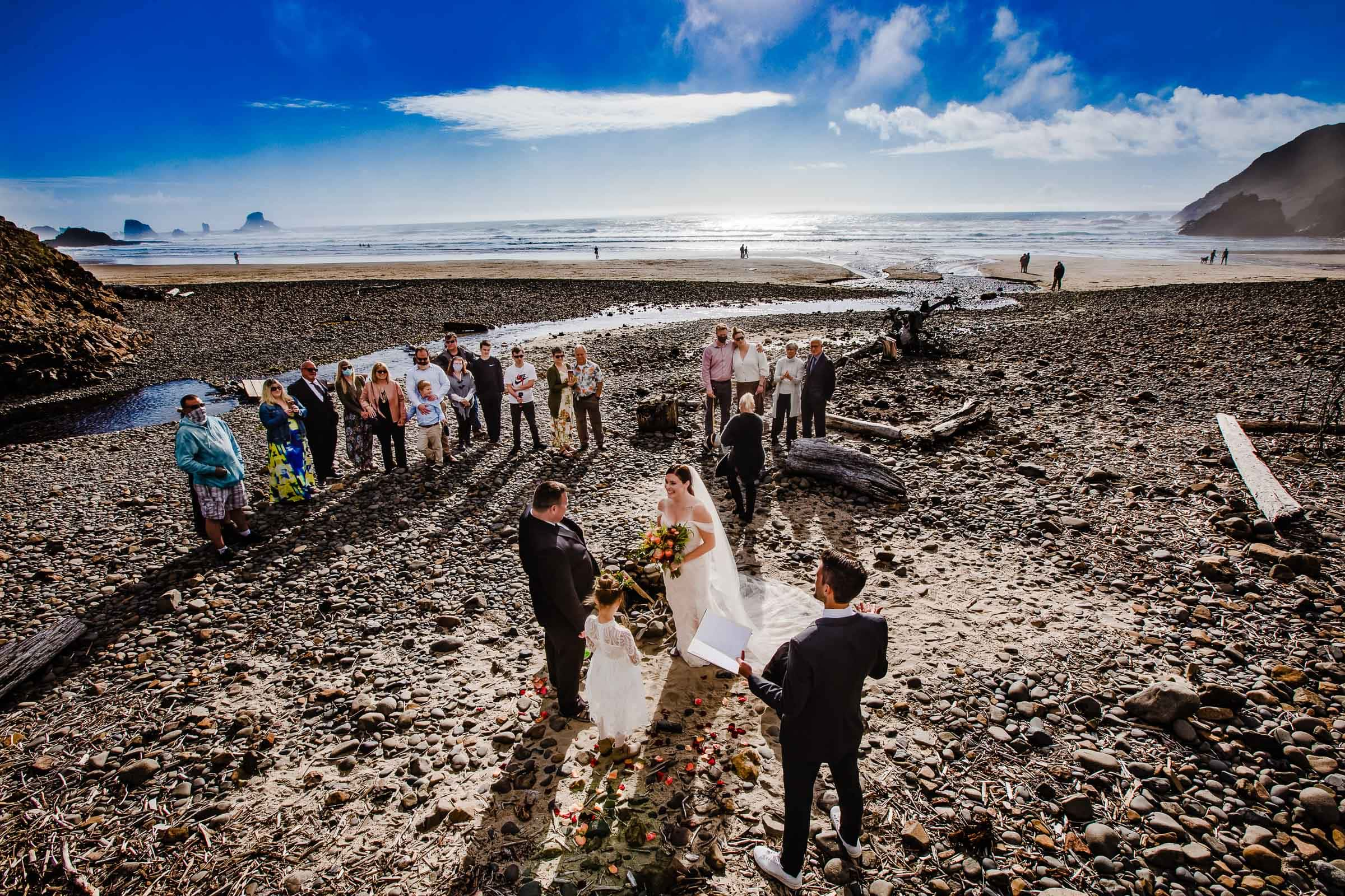 Expansive photo of Canon Beach elopement - photo by JOS & TREE