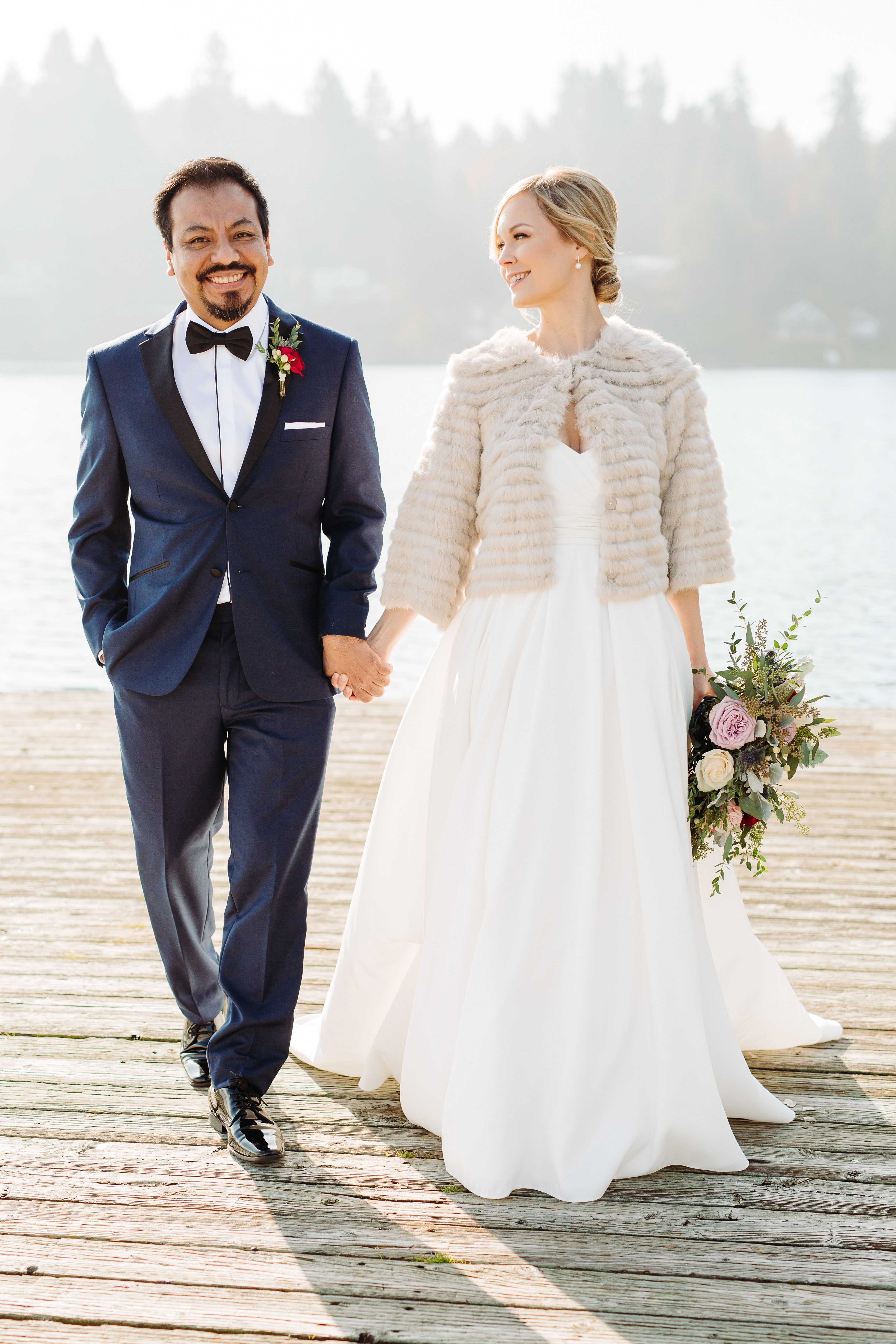 Winter wedding bride and groom - photo by Cameron Zegers Photography