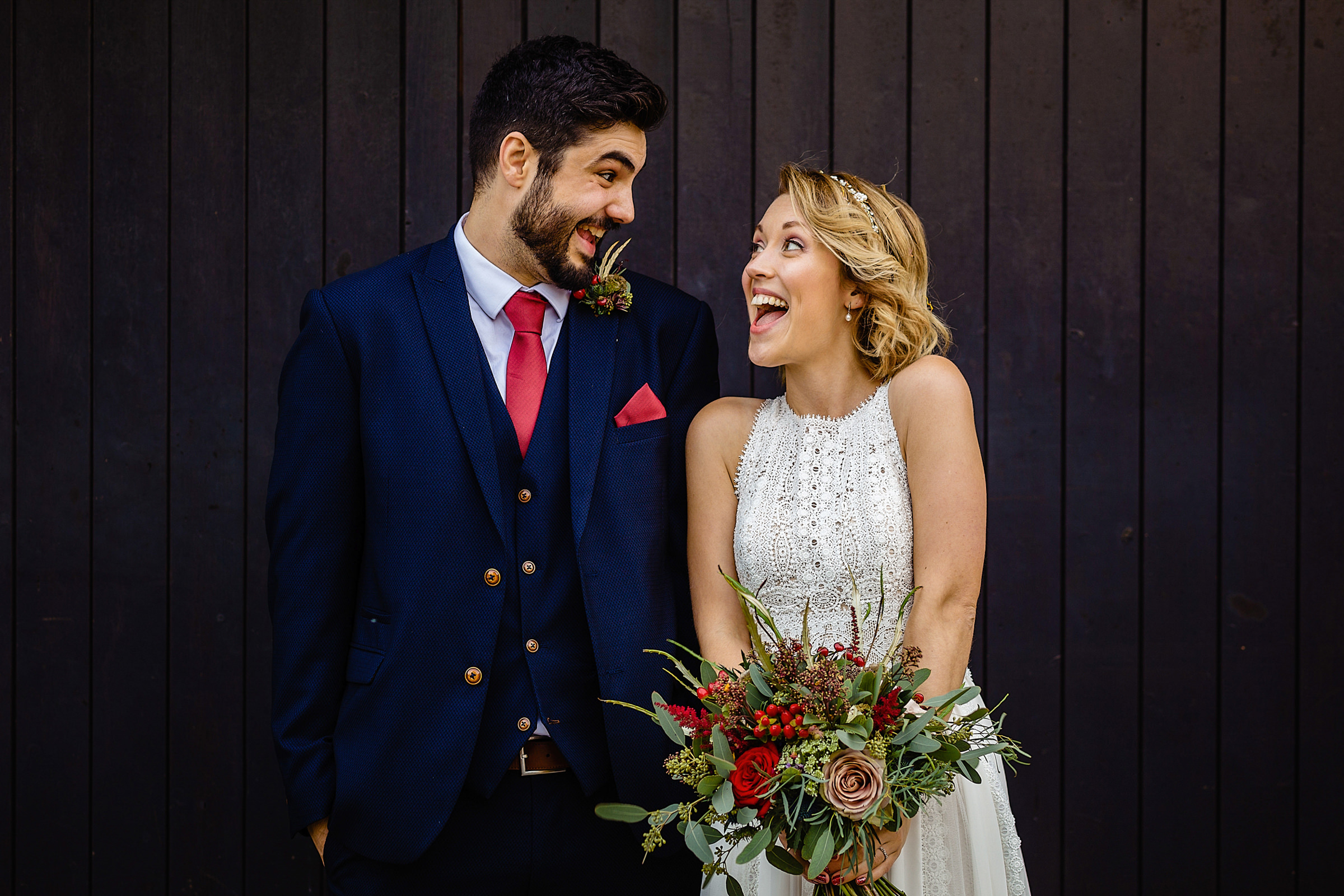 Sweet animated couple portrait - photo by Emma + Rich
