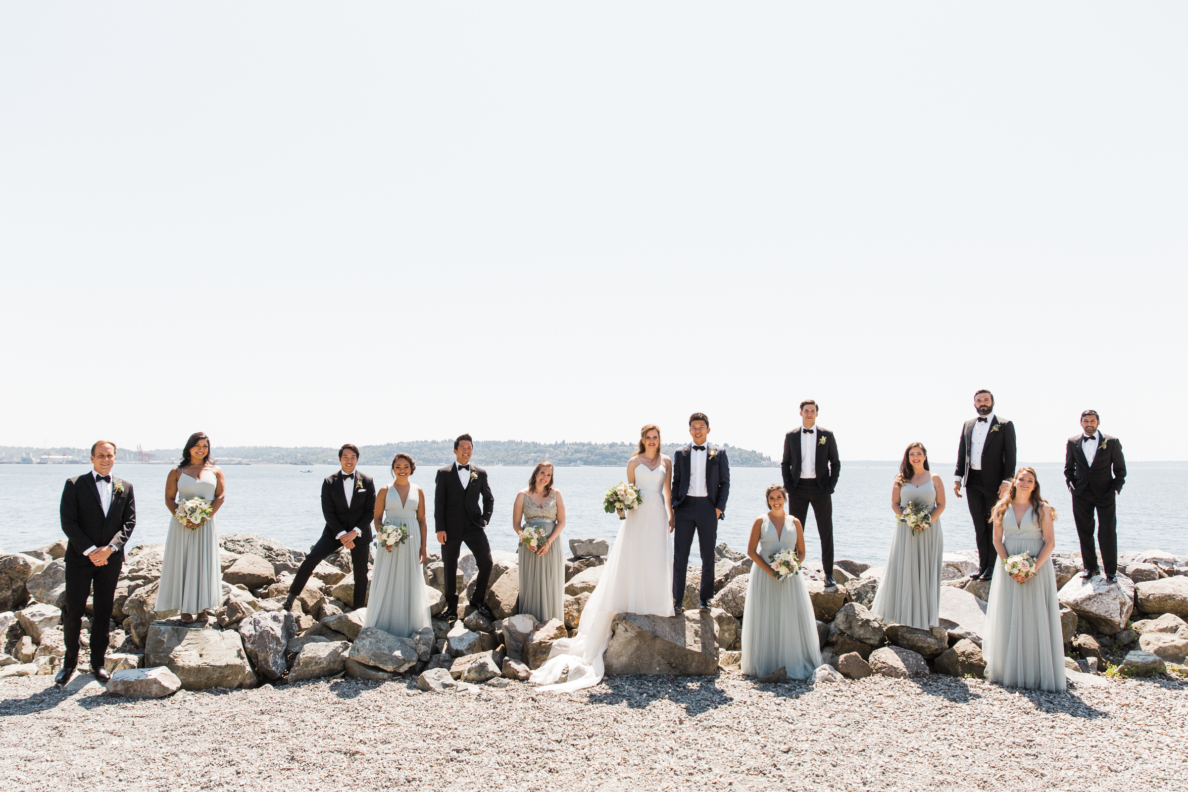 Bridal party portrait on West Seattle beach - photo by Stephanie Cristalli Photography