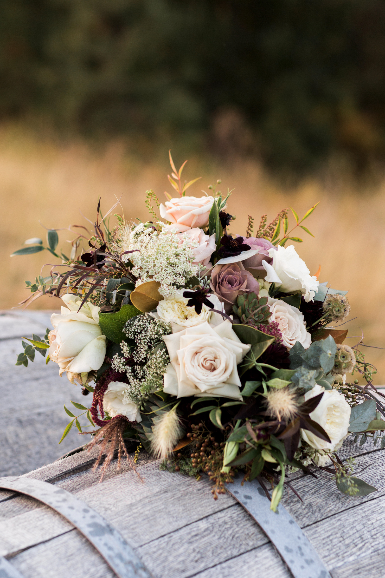 Pink rose bouquet with dried flowers - photo by Stephanie Cristalli Photography