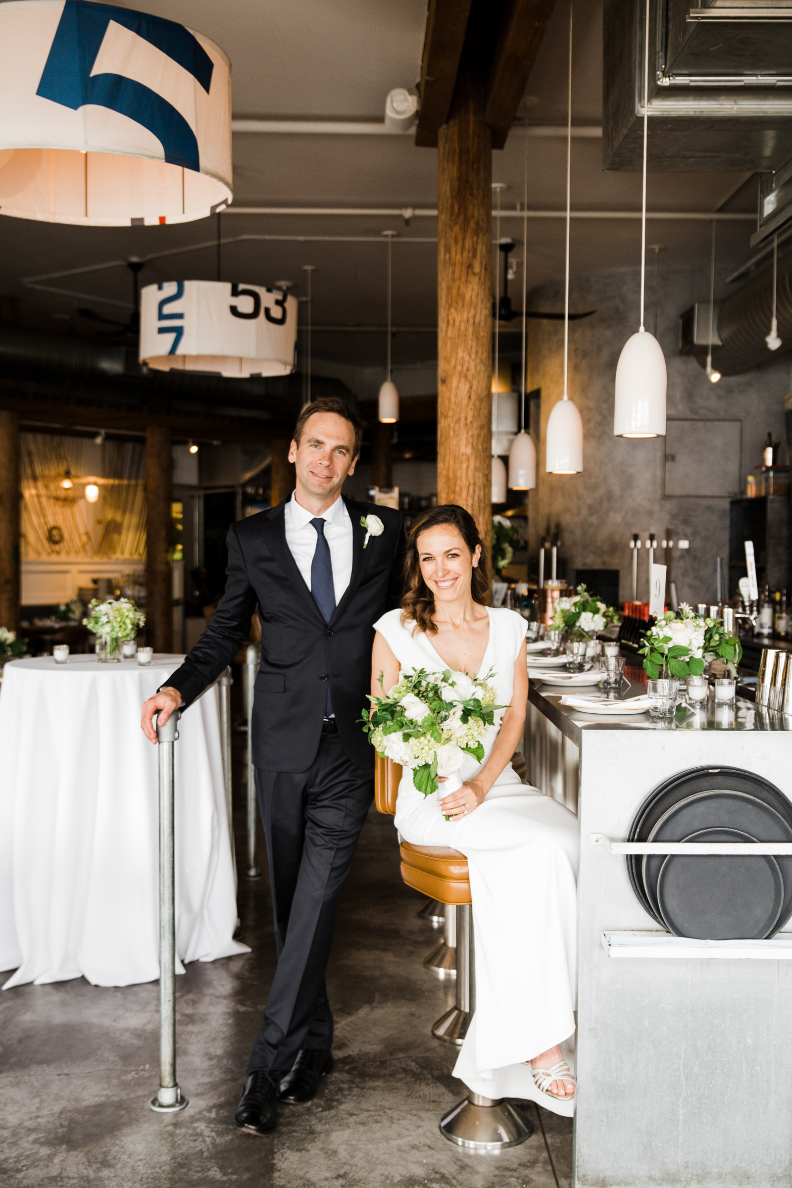 Seattle elopement photo at restaurant - photo by Stephanie Cristalli Photography