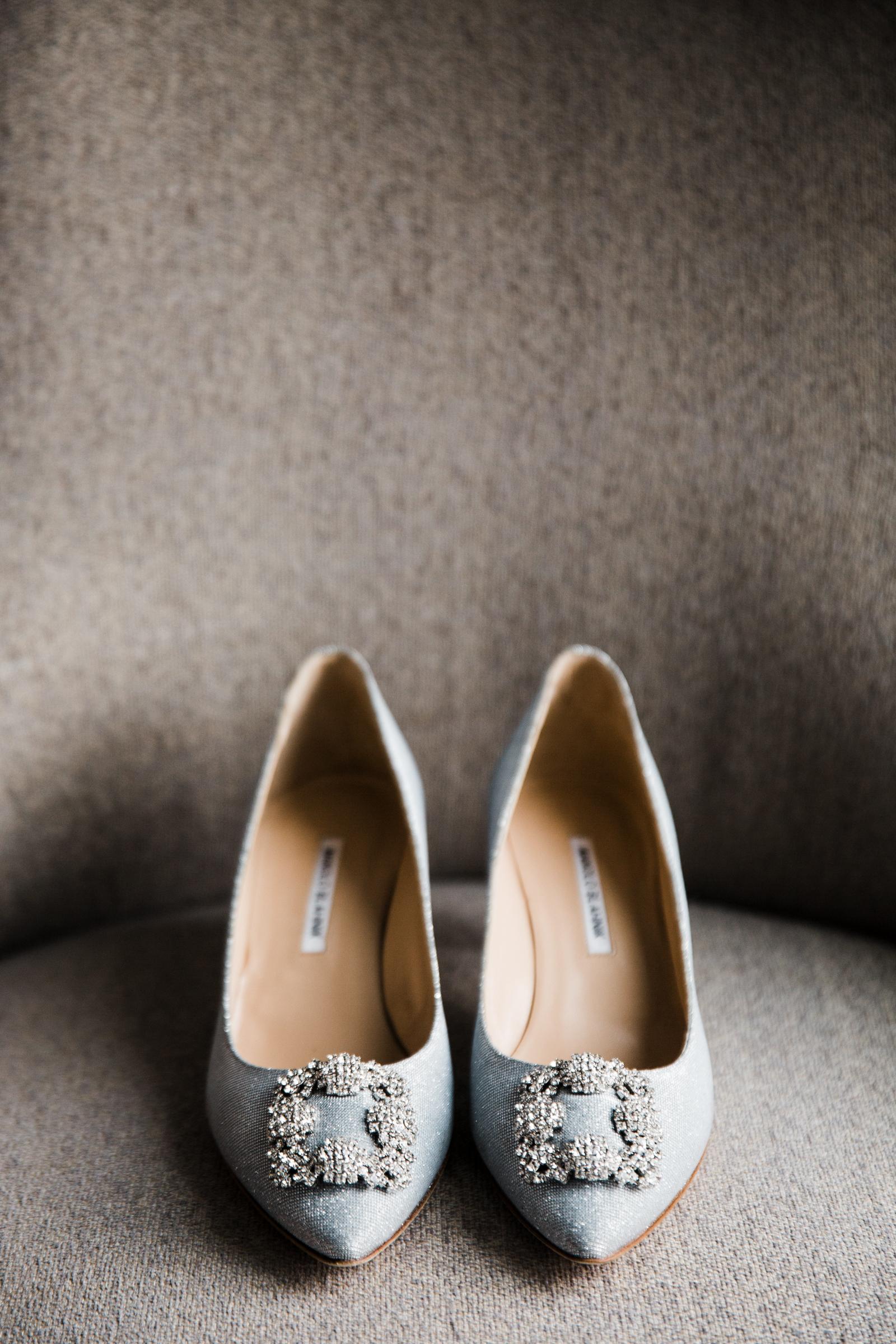 Soft blue wedding shoes with square rhinestone design - photo by Stephanie Cristalli Photography
