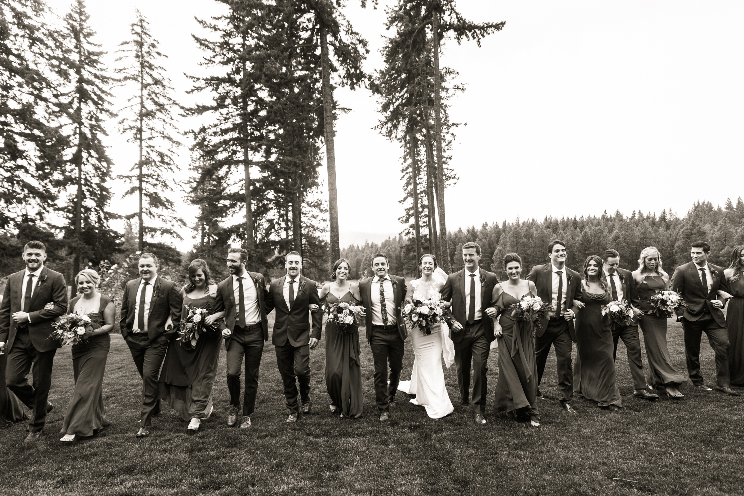 Vintage looking portrait of bridal party at forst wedding - photo by Stephanie Cristalli Photography