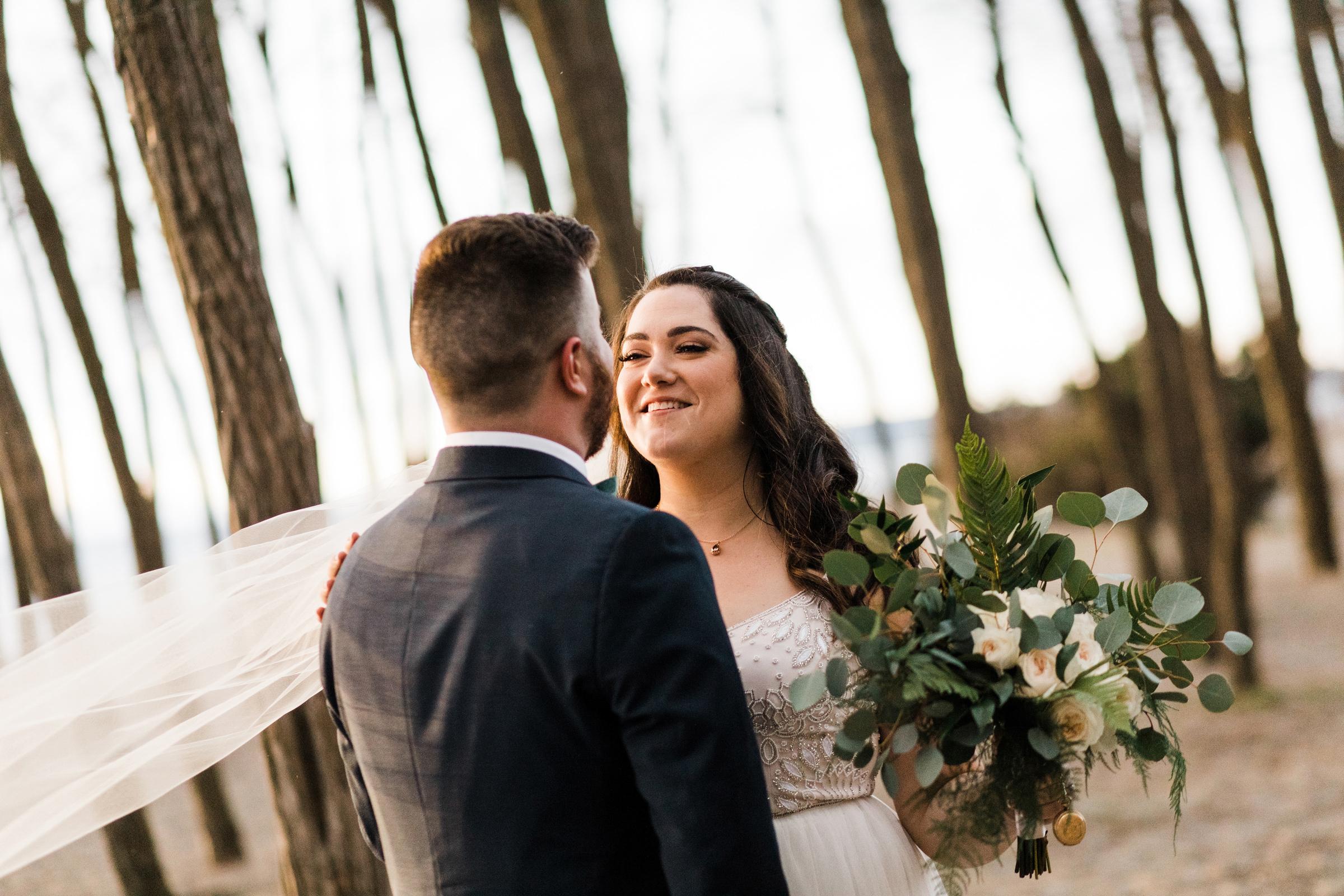Wedding portrait at Golden Gardens Seattle - photo by Stephanie Cristalli Photography