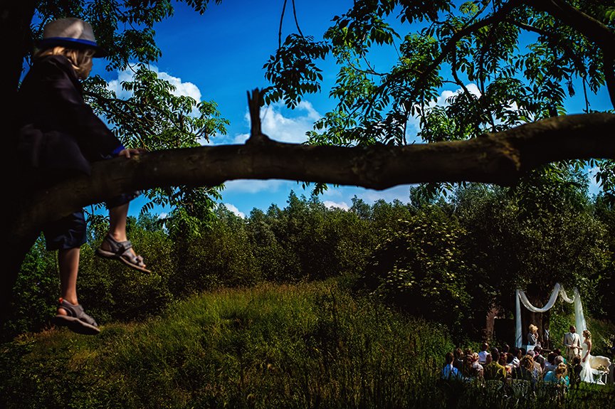 Child in tree looking down on ceremony - photo by Studio Damon Photograpy