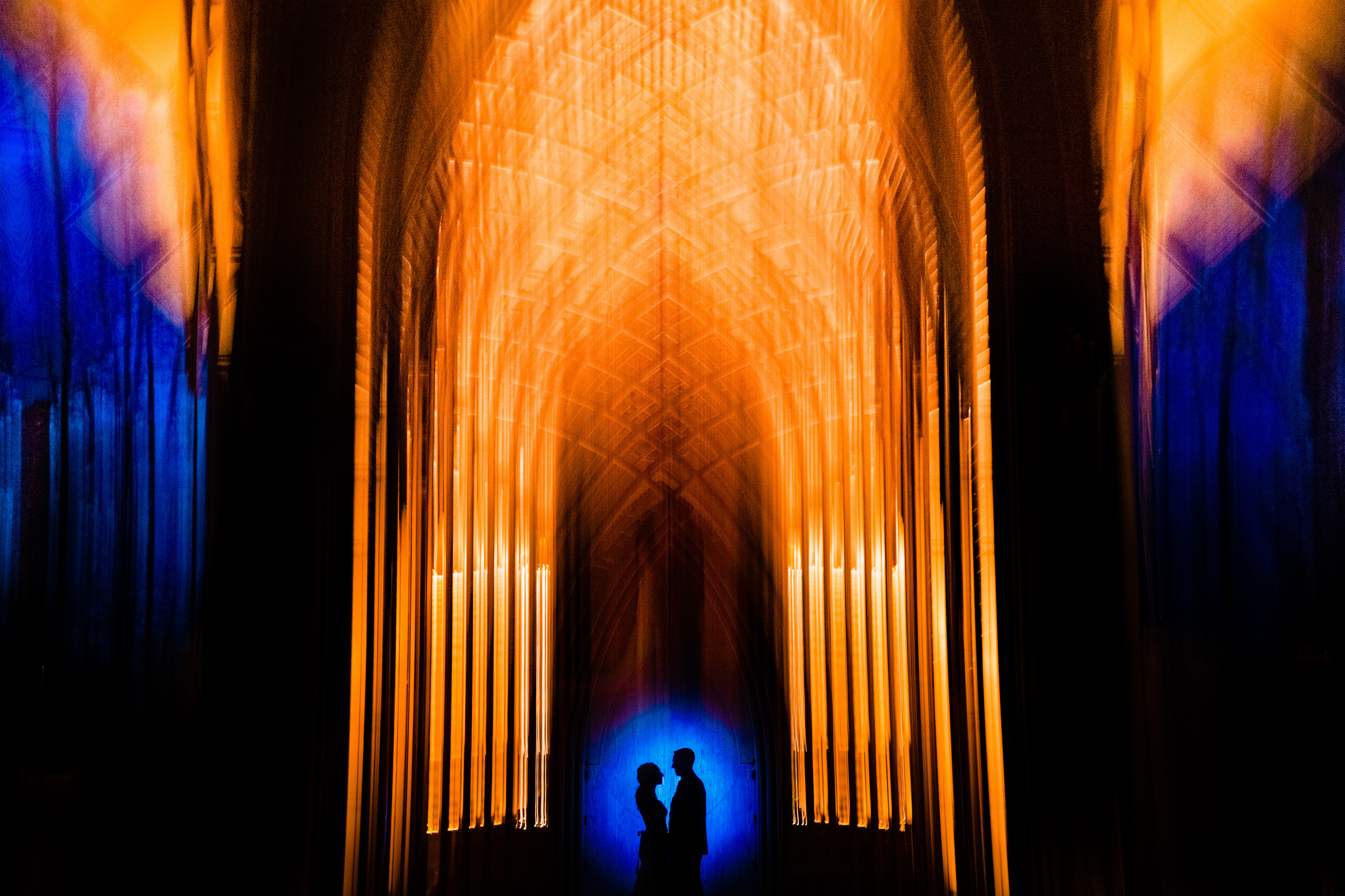 50 best wedding photo concepts - silhouette against golden arches by Vinson Images