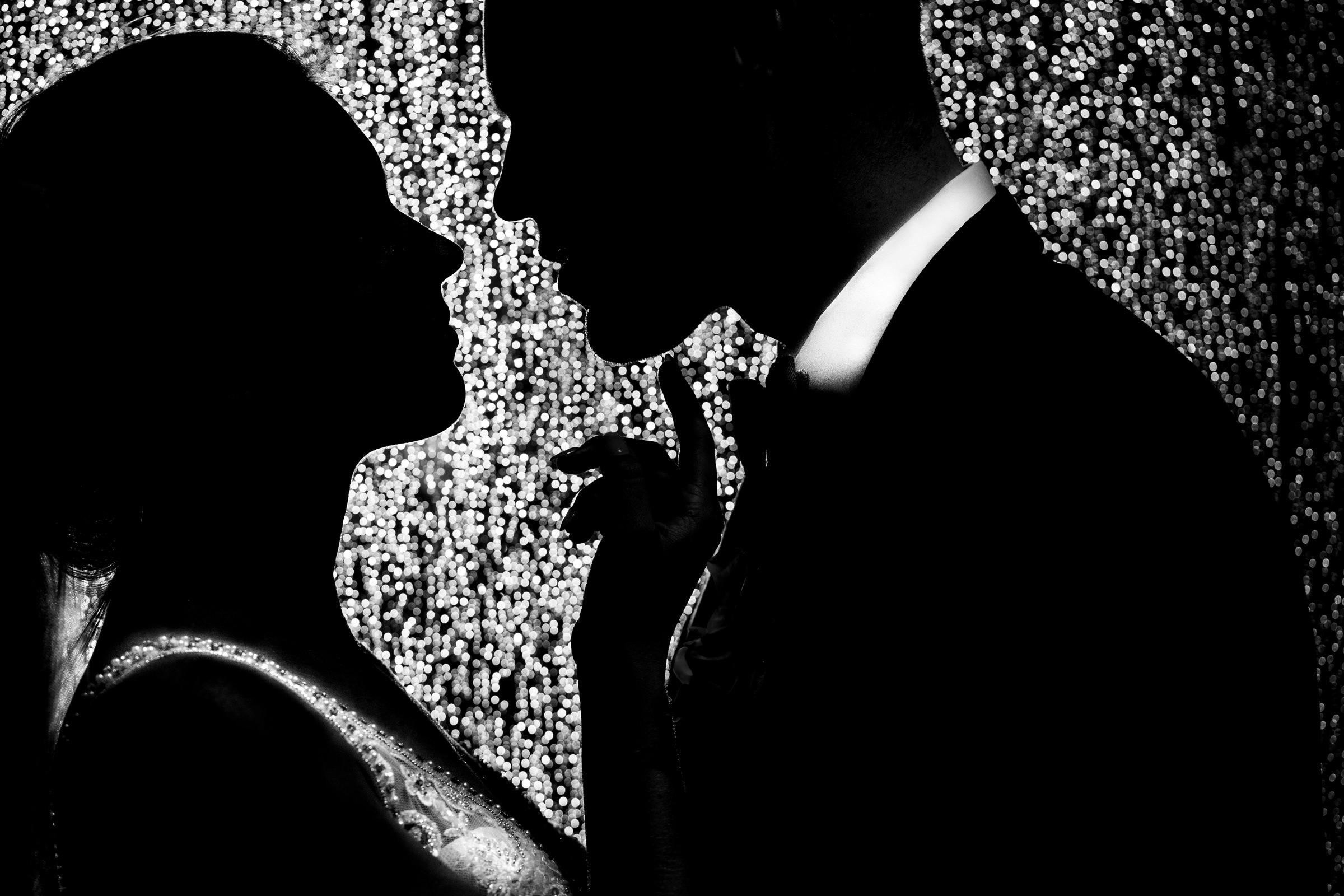 bride and groom silhouette portrait-Arkansas photographer- photo by Vinson Images