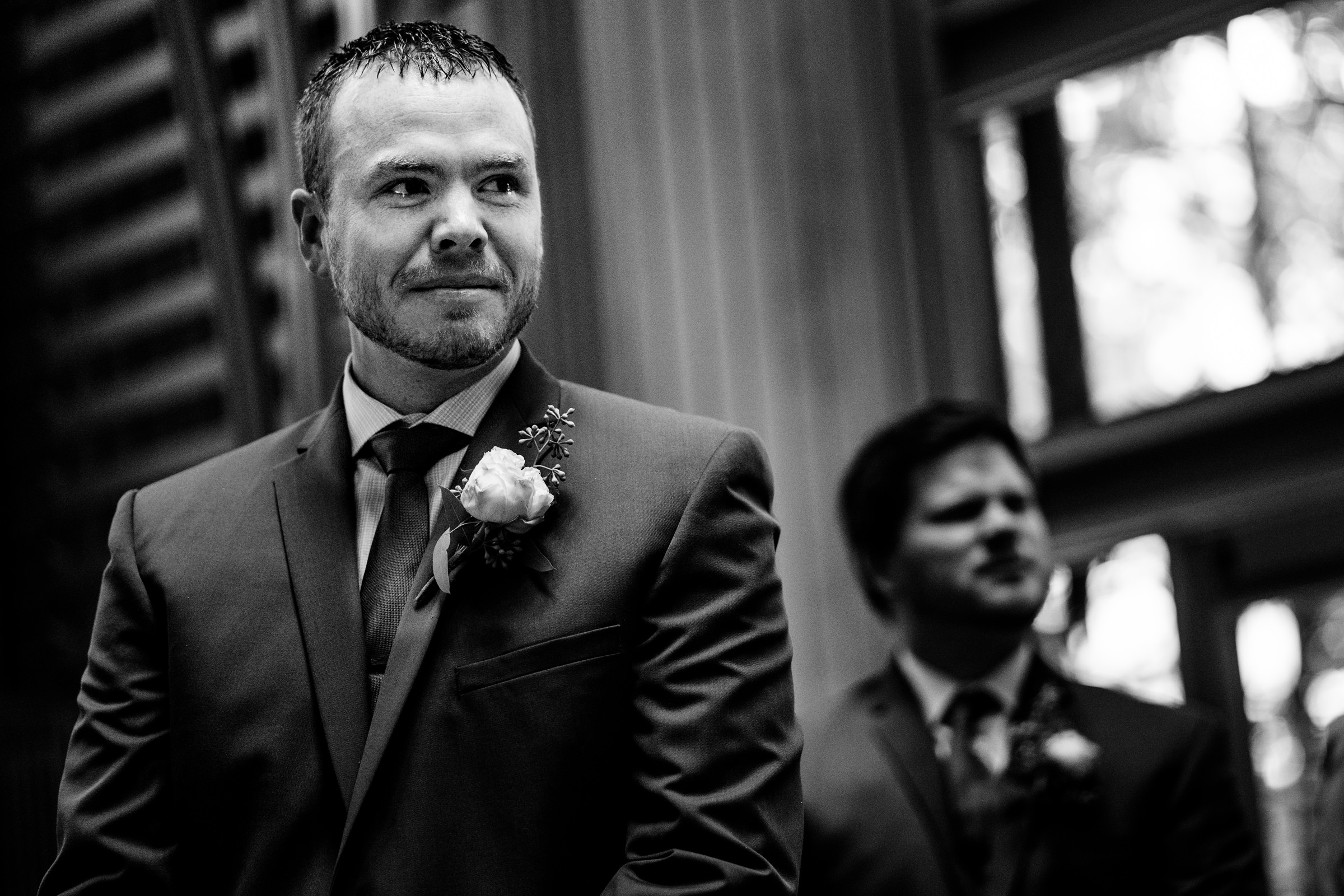 groom seeing the bride for the first time walking down the aisle-Arkansas photographer- photo by Vinson Images