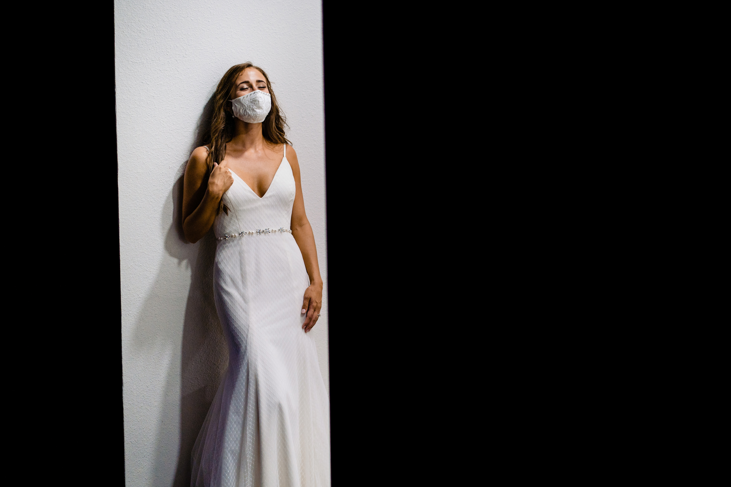 portrait of bride during covid with mask on-Arkansas photographer- photo by Vinson Images