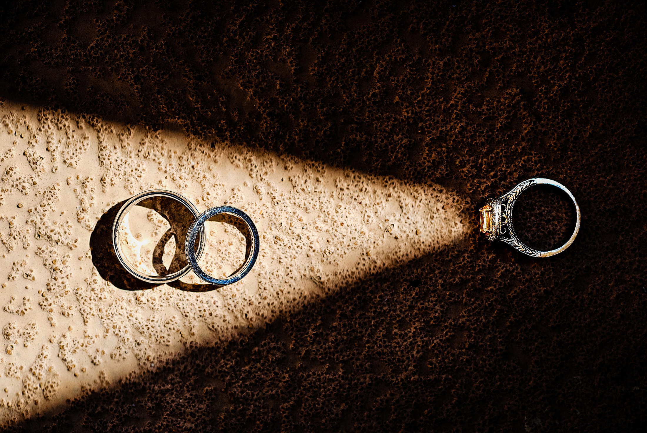Best wedding photo concept - ring as a flashlight - by Jeff Tisman Photography