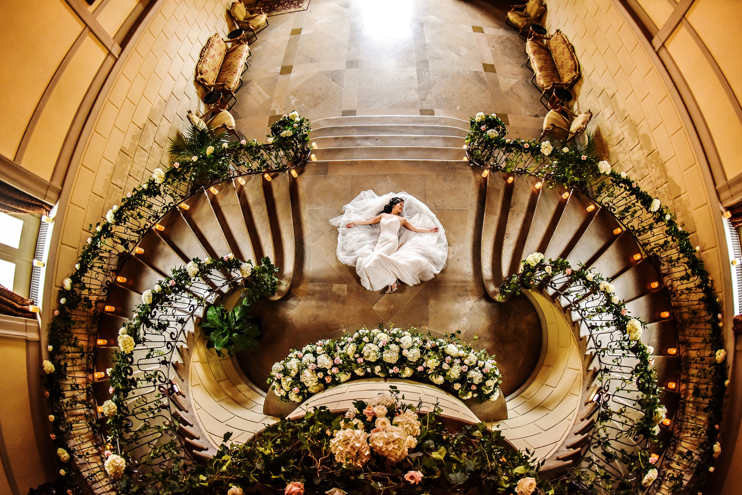 Aerial view of prone bride on grand floor - photo by Jeff Tisman Photography