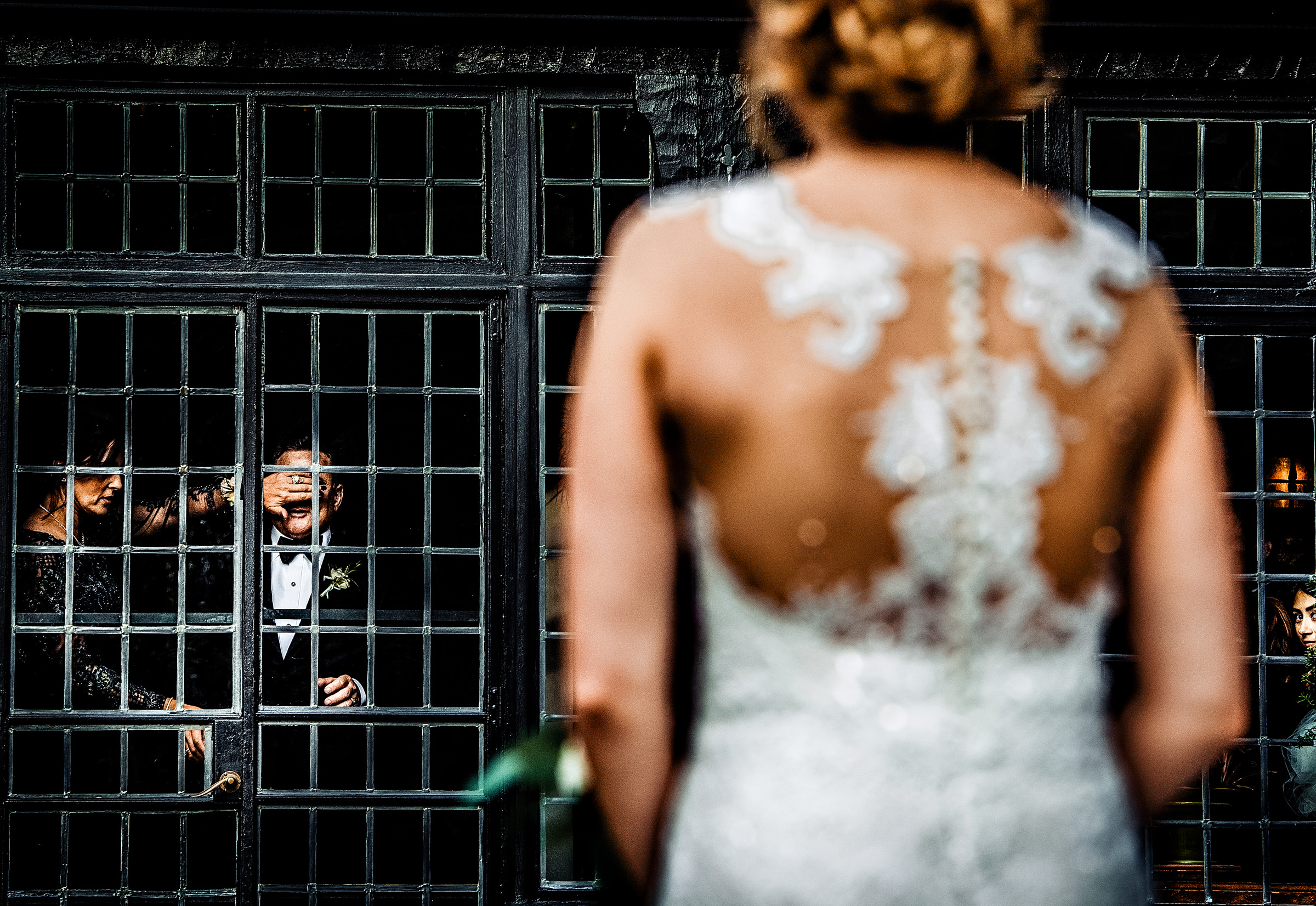 Bridesmaid cover grooms eyes as bride approaches - photo by Jeff Tisman Photography, New York