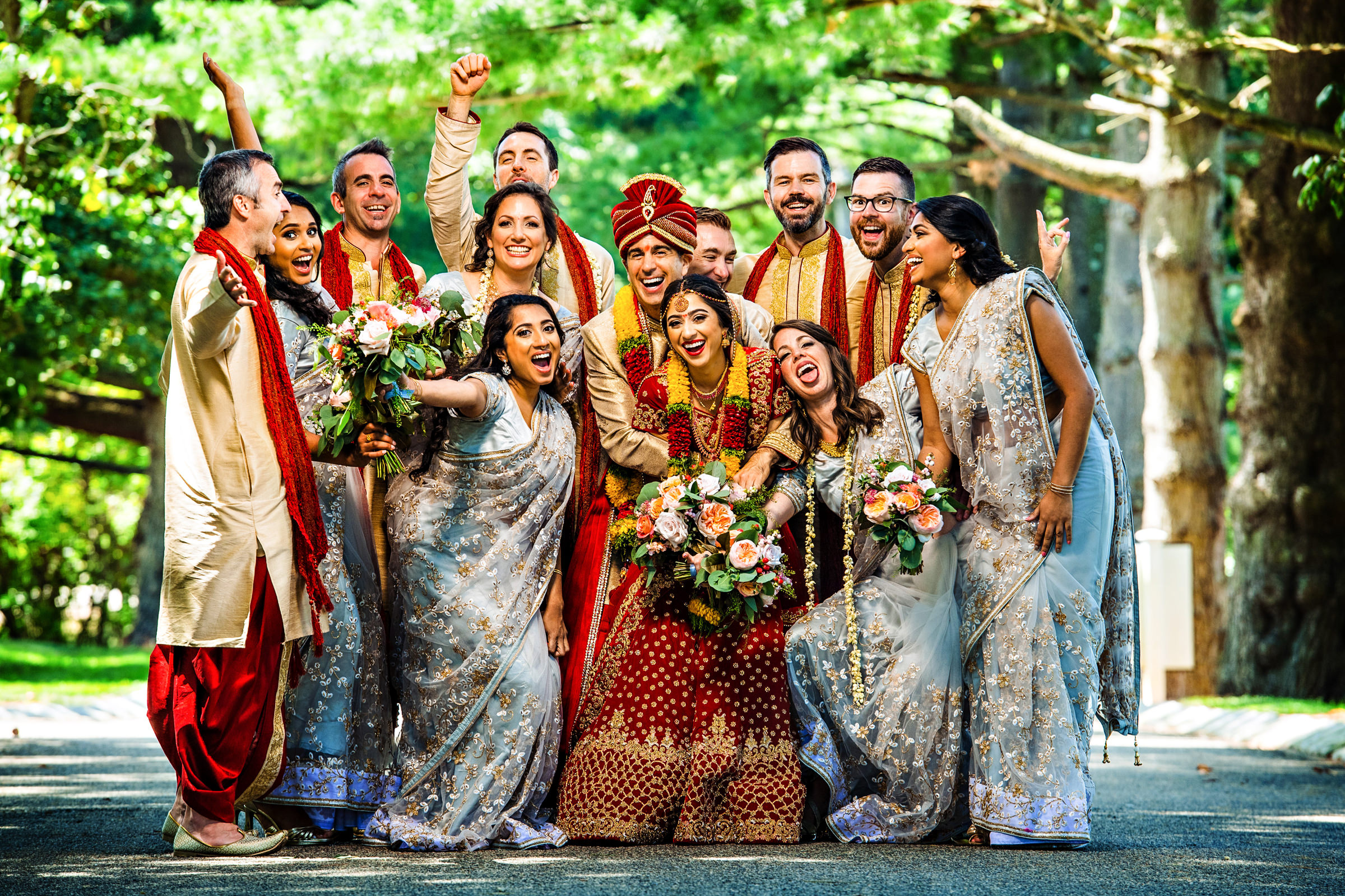 Indian bridal party hamming it up - photo by Jeff Tisman Photography