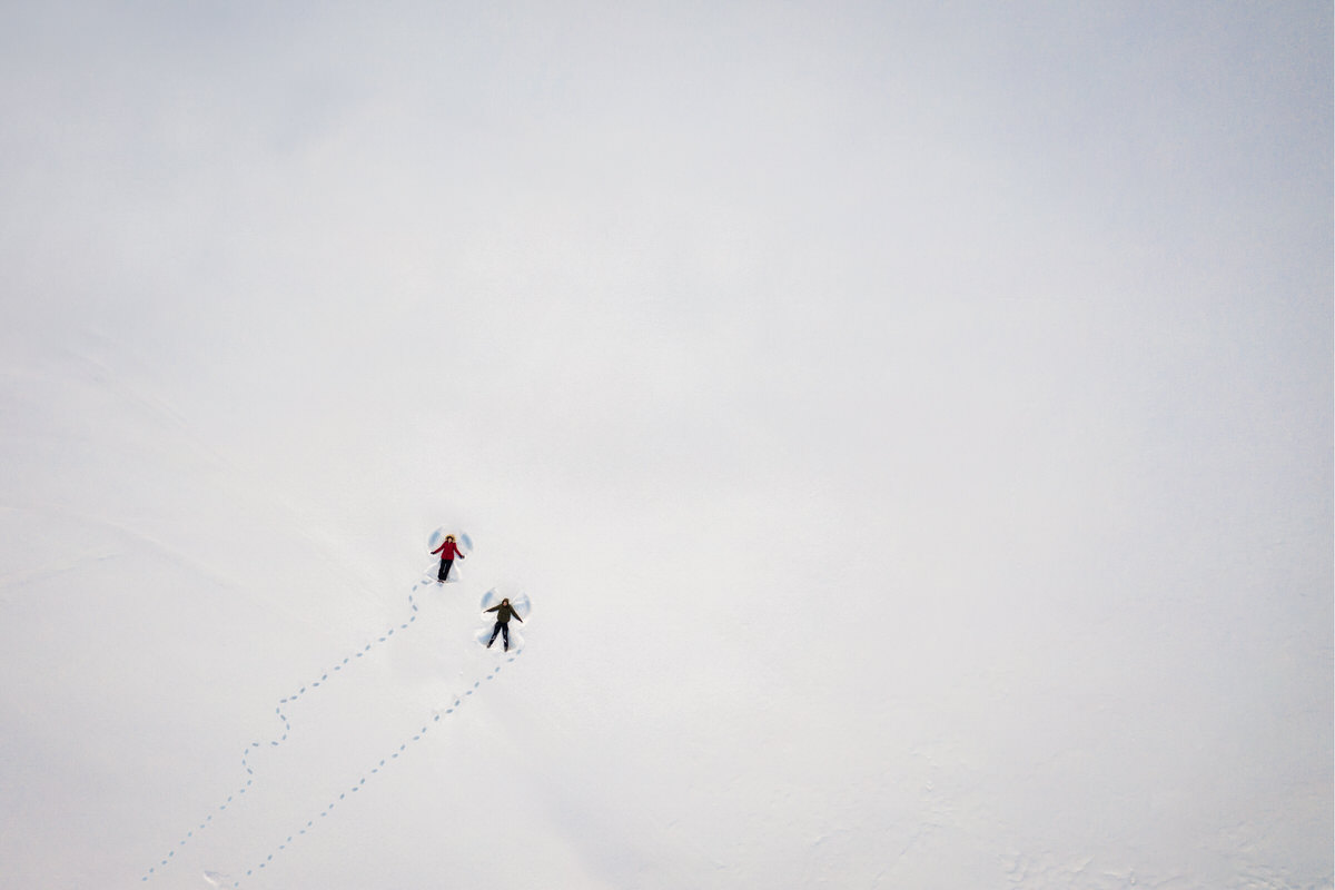 Snow angels taken by drone camera - photo by Luca+Marta Gallizio - Italy