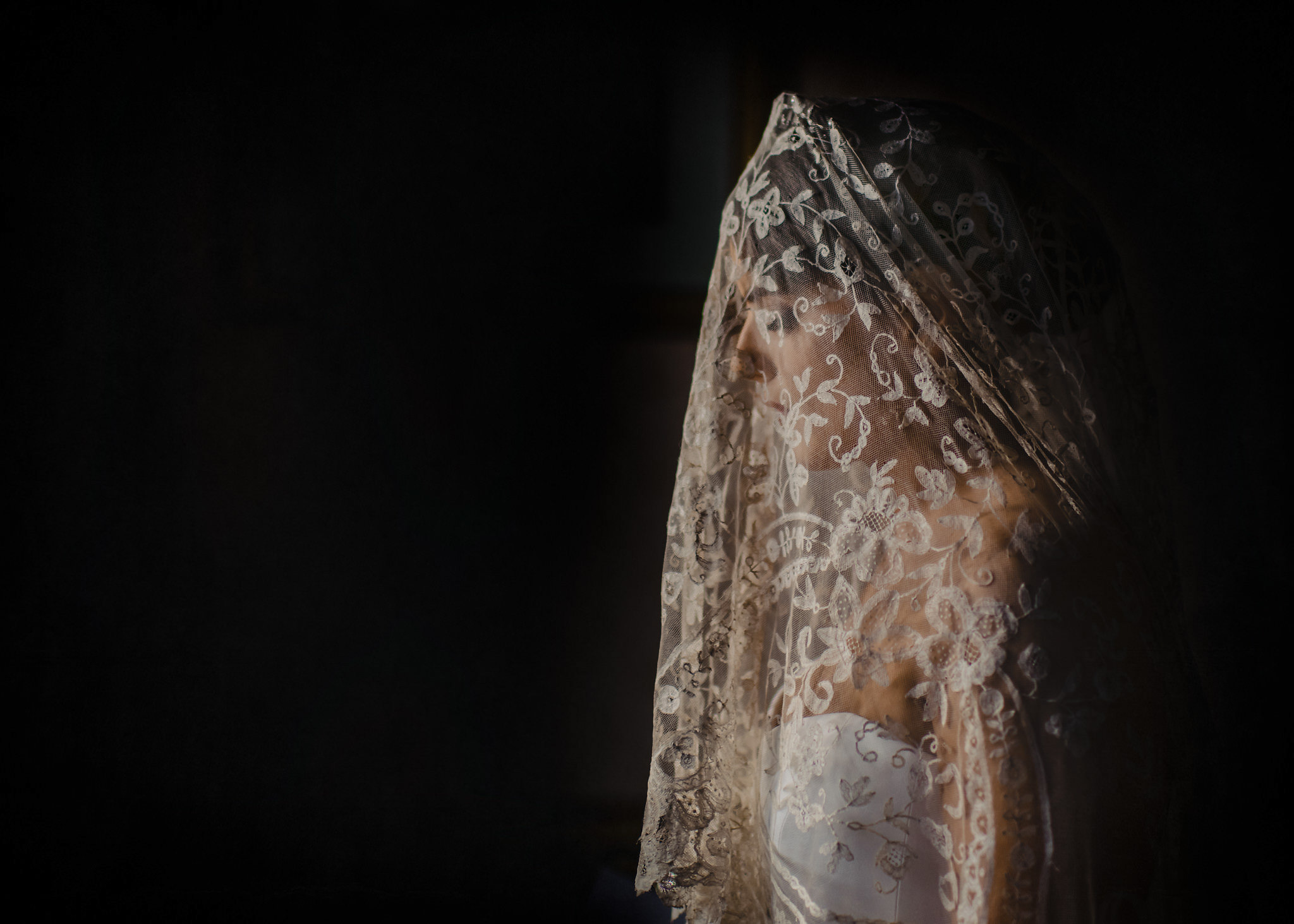 Profile portrait of bride in lace veil - photo by John Gillooley