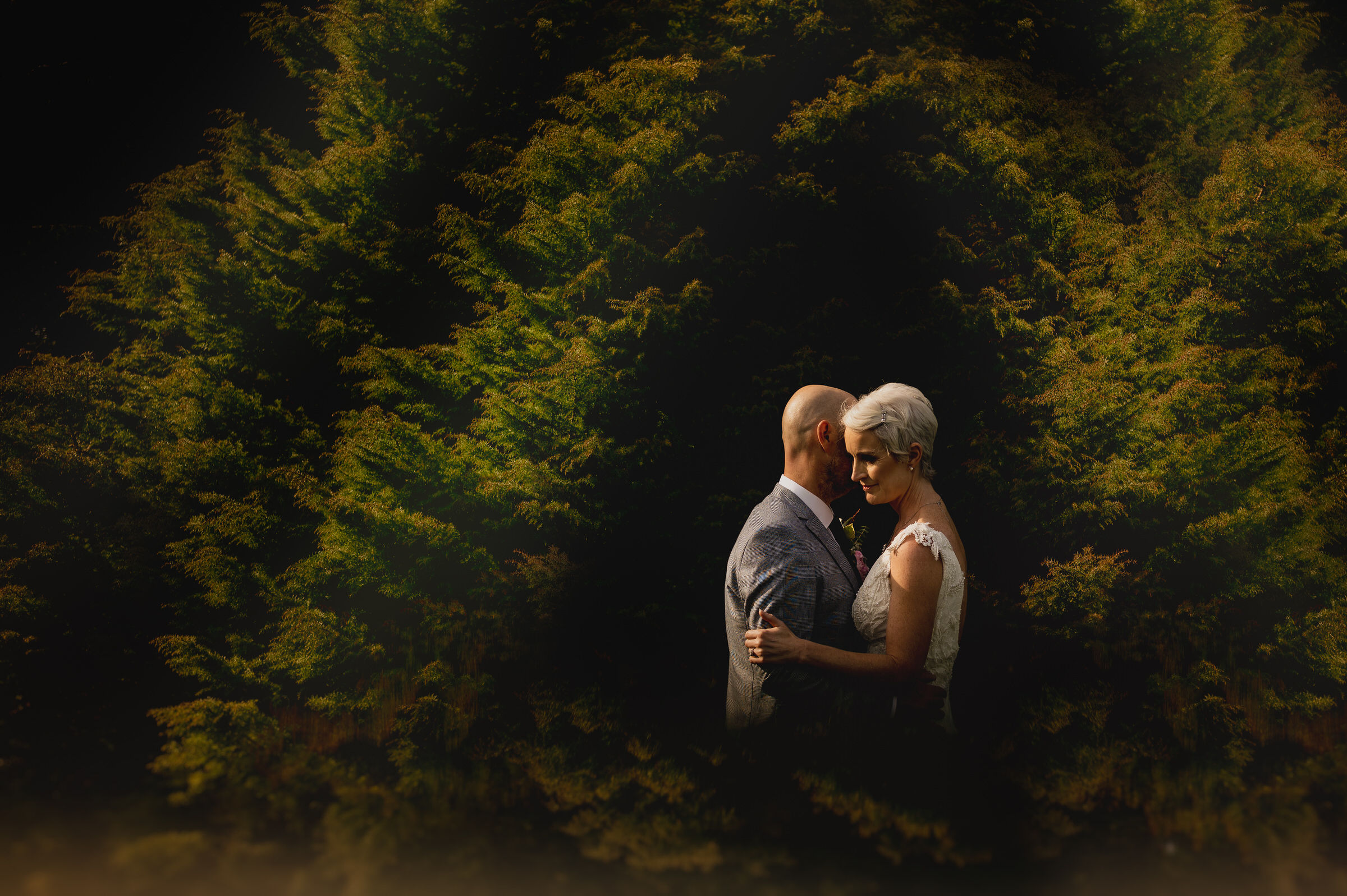 Couple framed in shrubbery - photo by John Gillooley