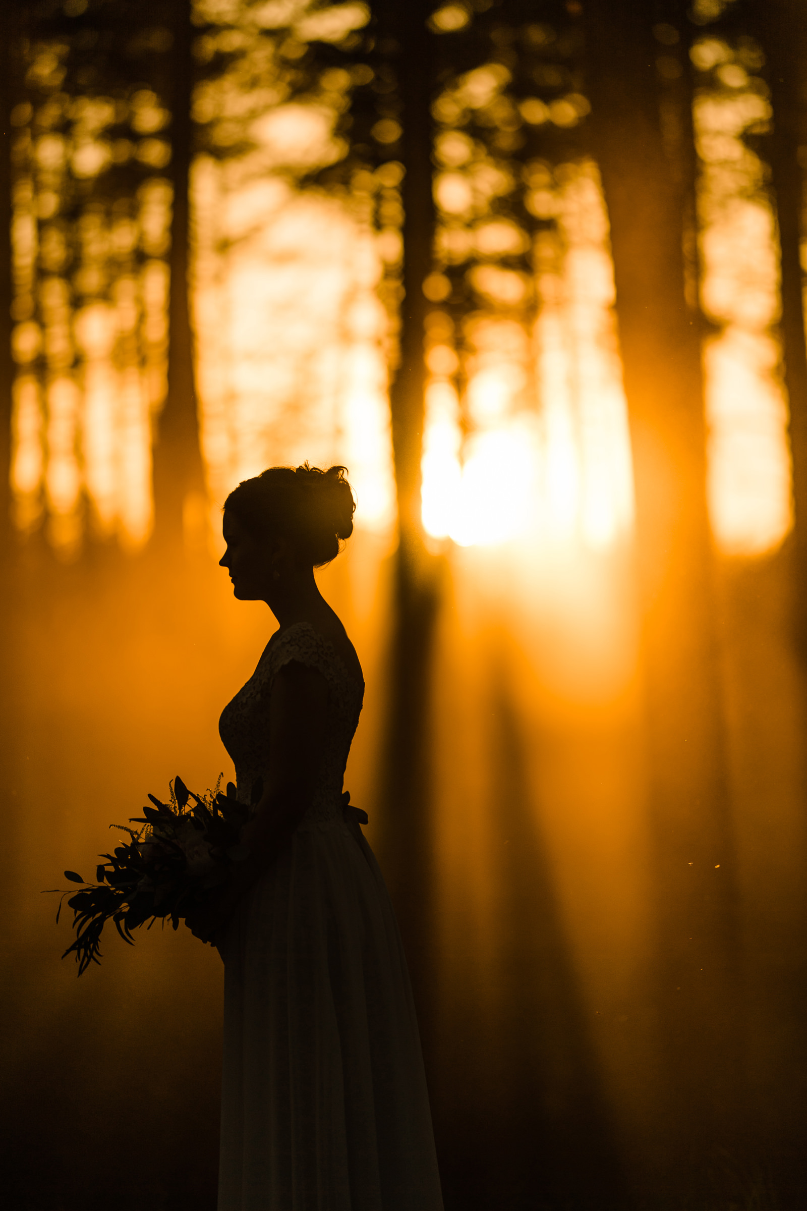 Silhouette bride against late afternoon forest - photo by M&J Studios