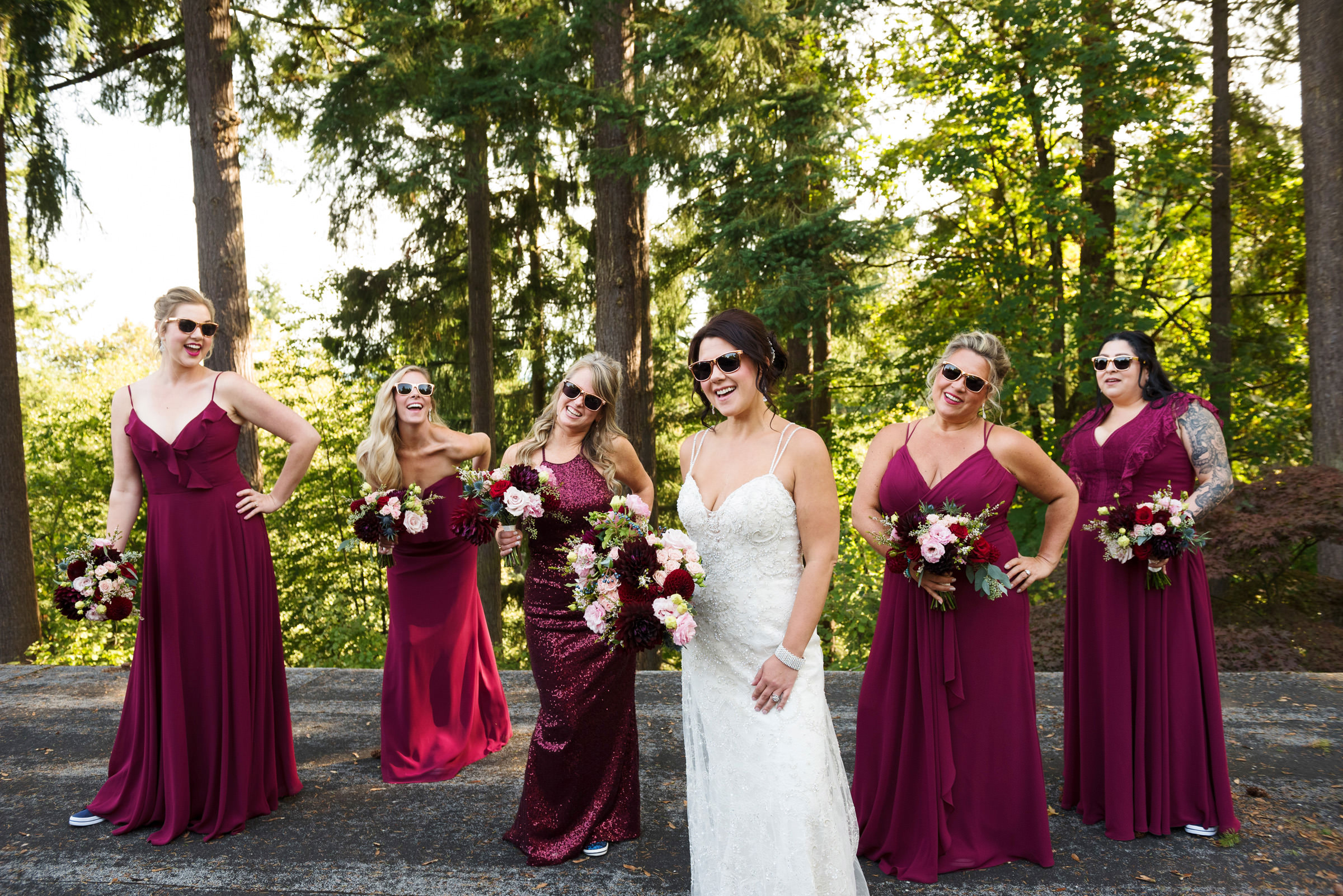 Bridal party vamping it up - photo by Barbie Hull Photography