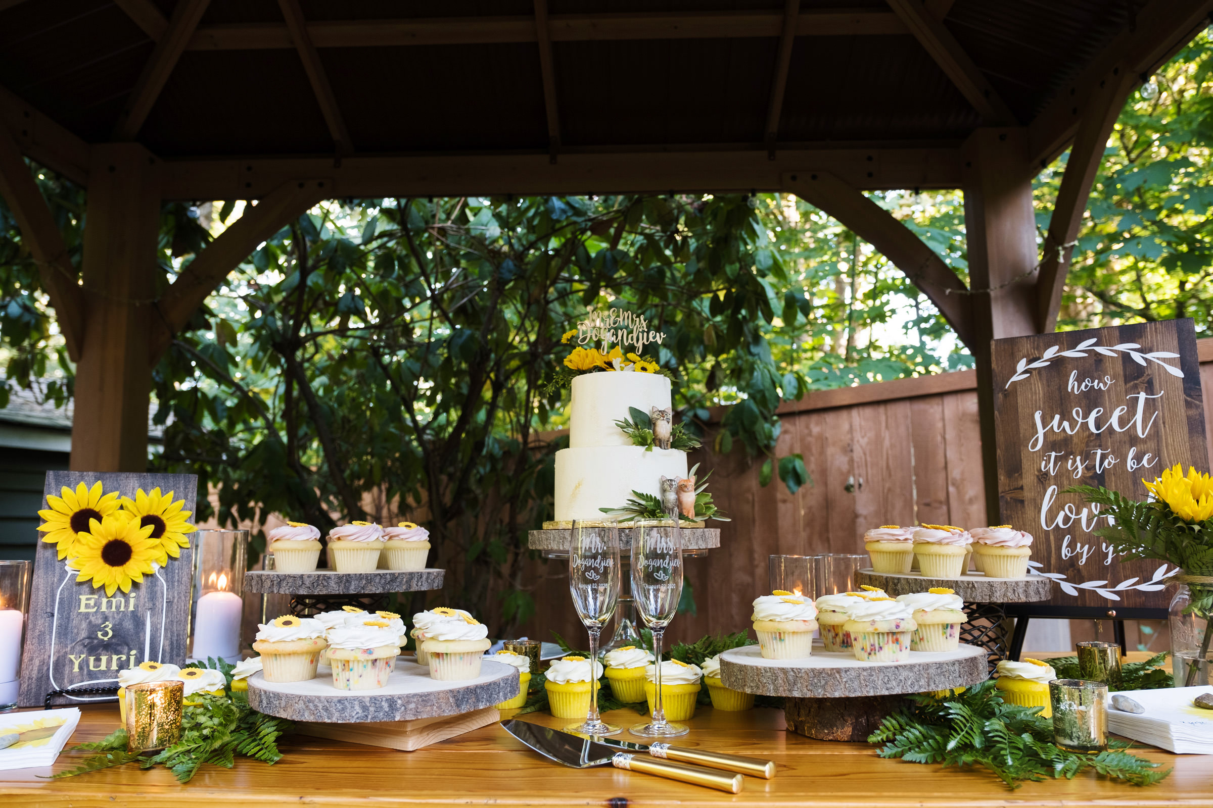 Dessert table with sunflower theme - photo by Barbie Hull Photography