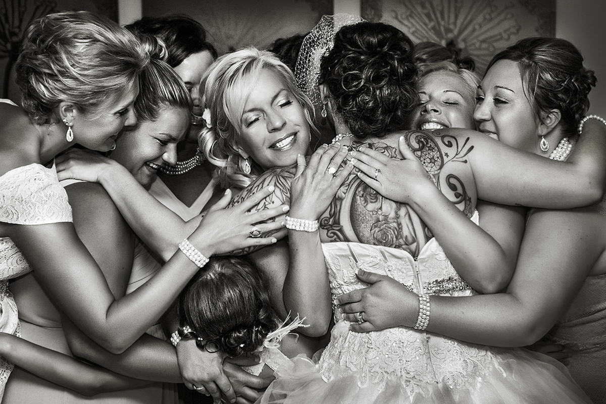 Group hug with bride, mom, and bridesmaids,  Amber Henry Photography, Michigan